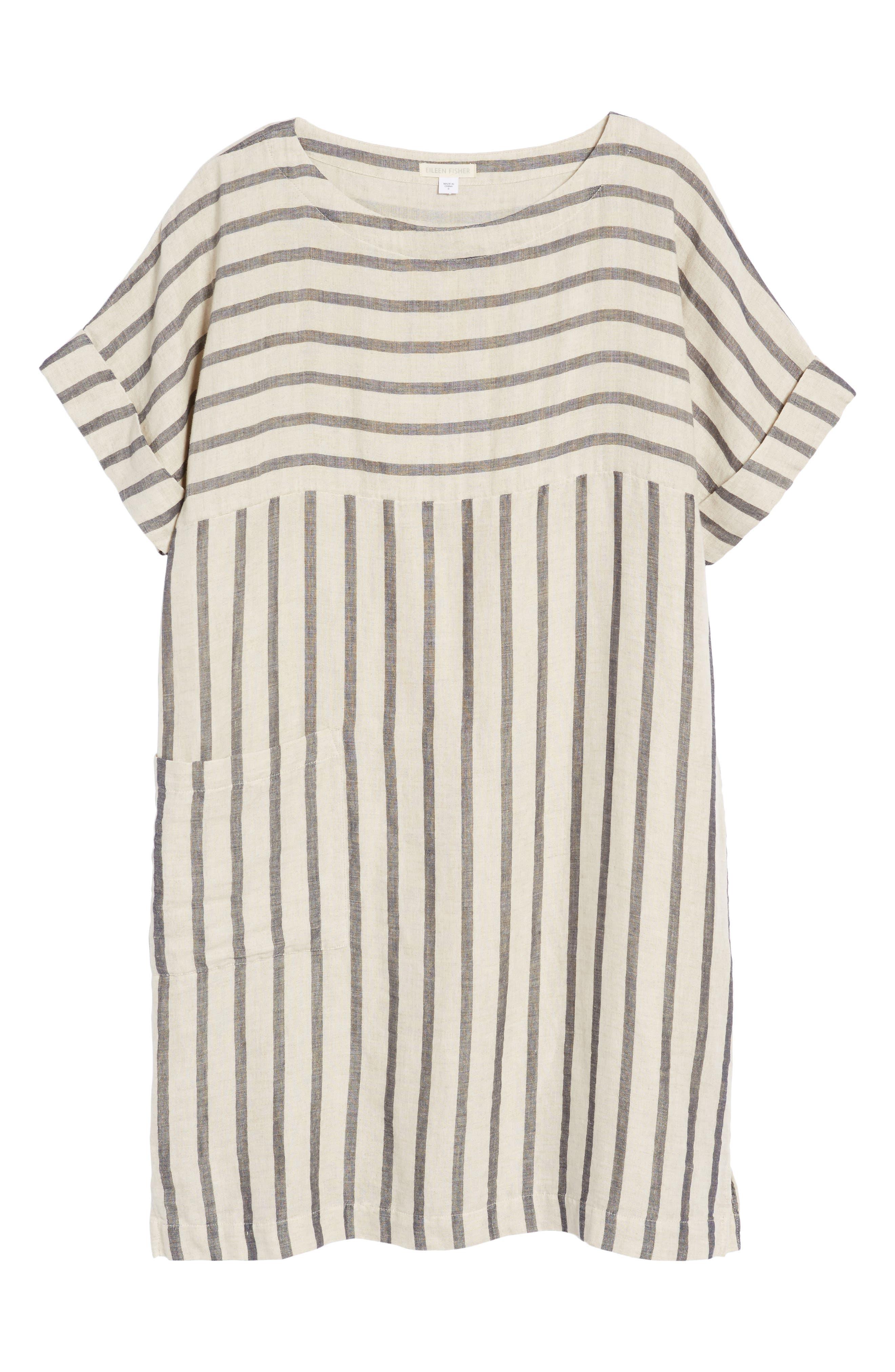 Stripe Linen & Cotton Shift Dress,                             Alternate thumbnail 6, color,                             Natural