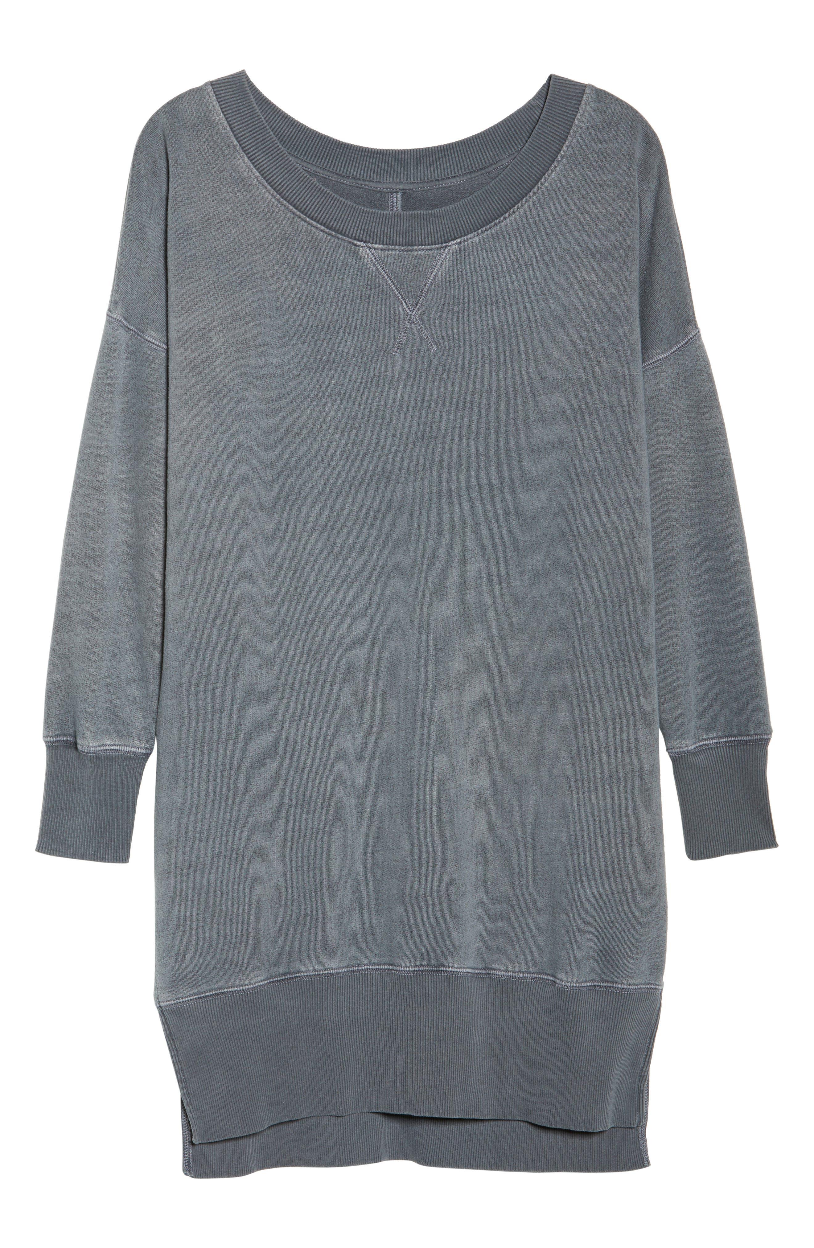 Lounge Sweatshirt Dress,                             Alternate thumbnail 4, color,                             Faded Black