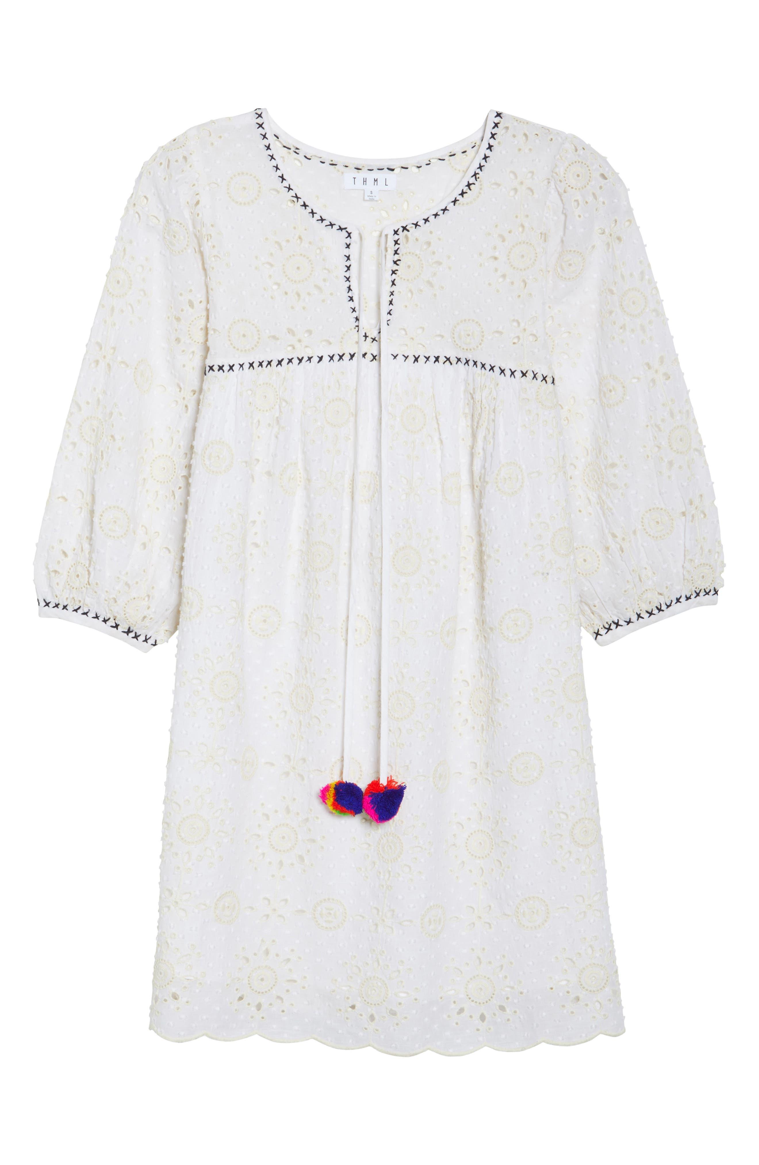 Eyelet Babydoll Dress,                             Alternate thumbnail 7, color,                             Cream