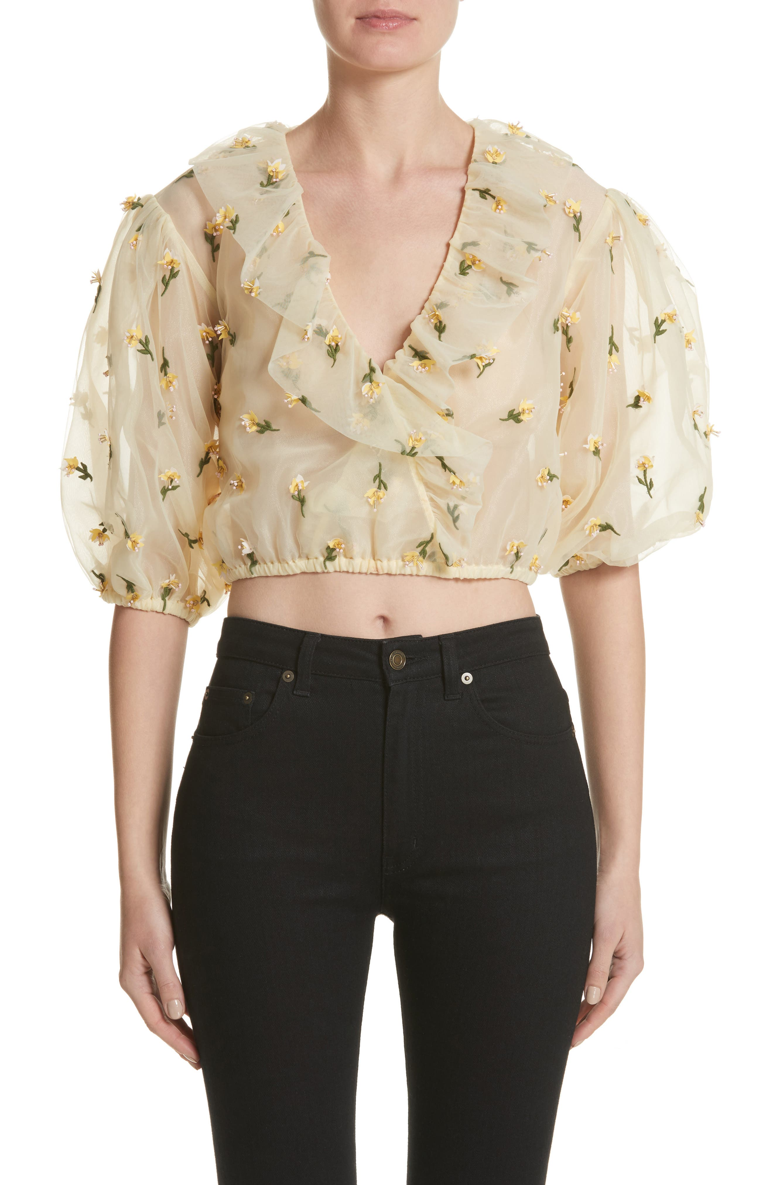 GANNI Bliss Embroidered Floral Wrap Top