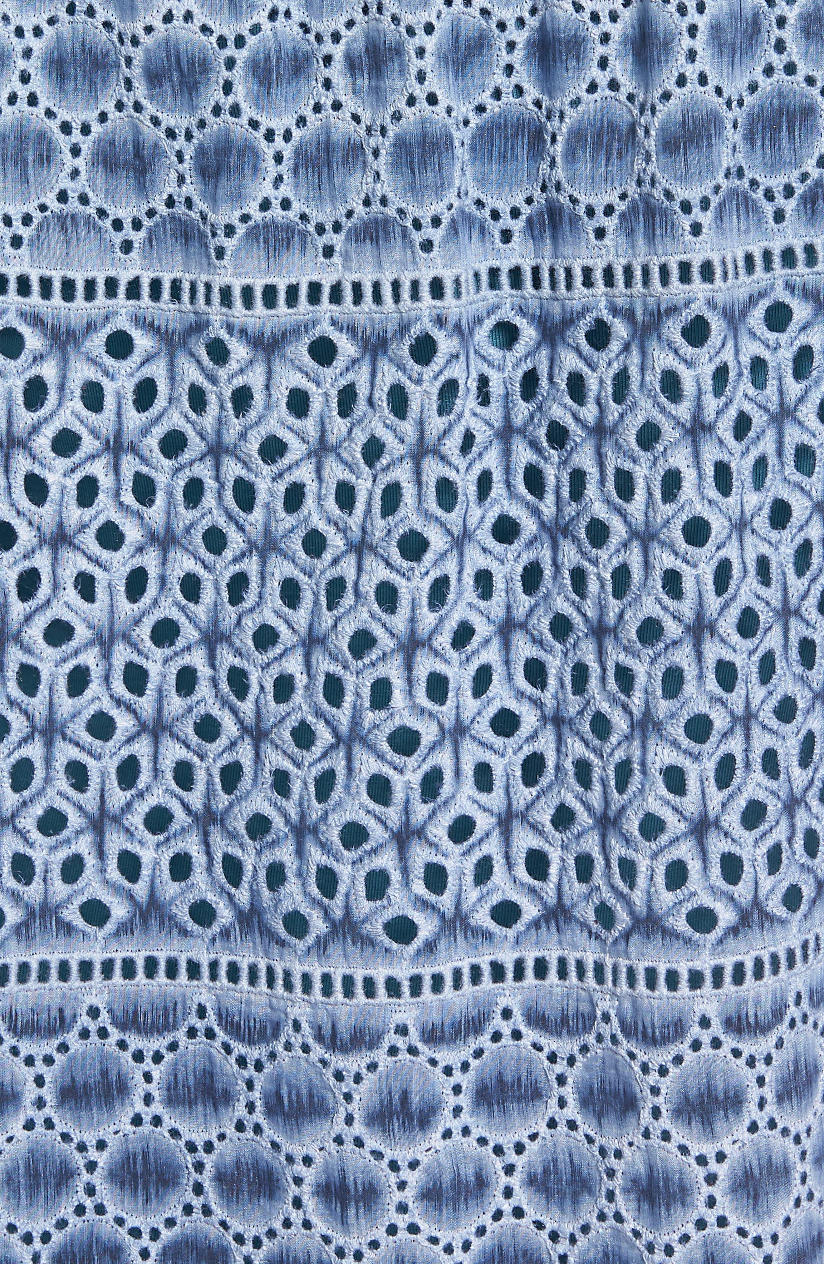 Mosaic Lace Cotton Silk Blouse,                             Alternate thumbnail 5, color,                             Mosaic Blue