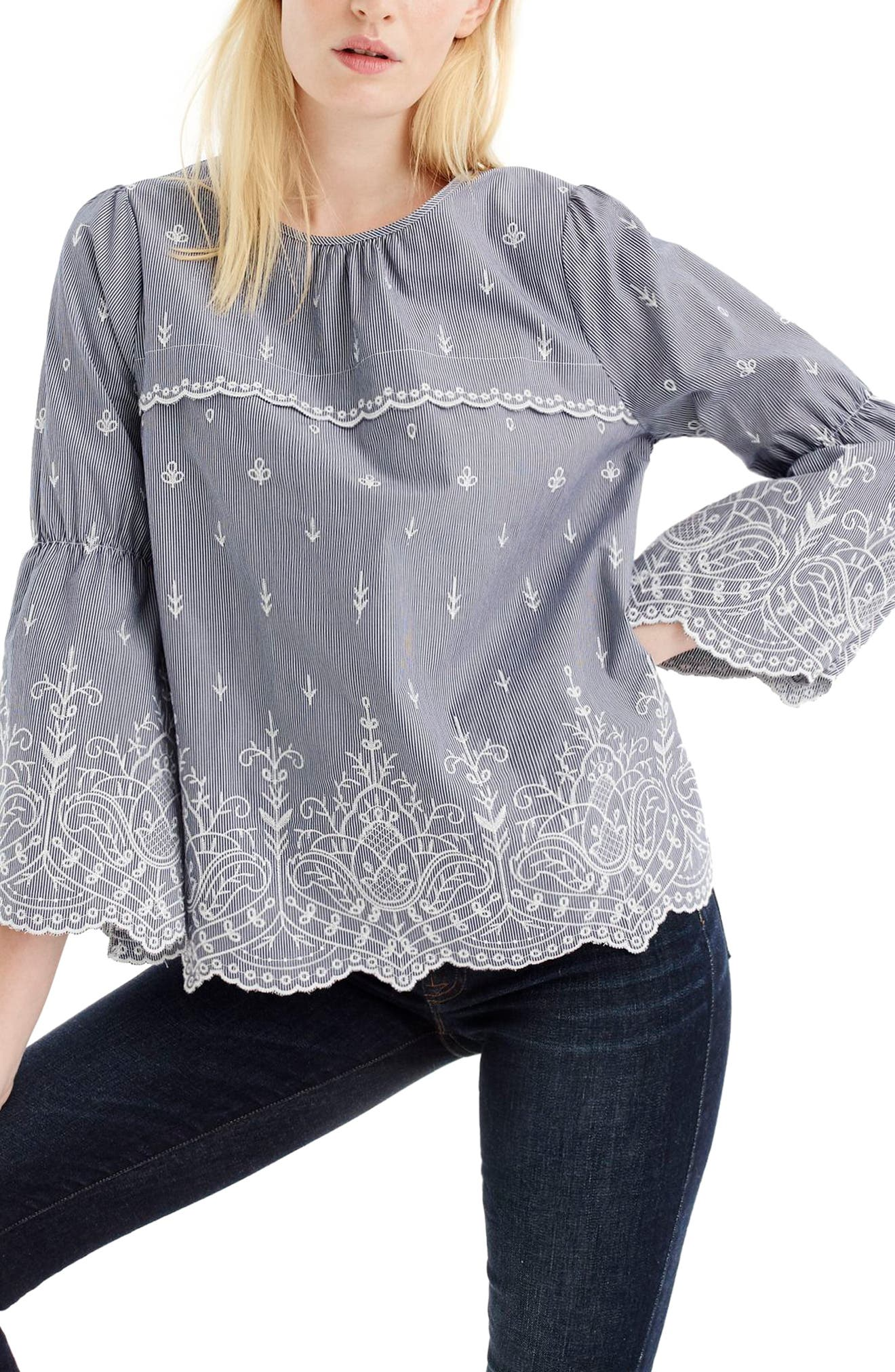 Embroidered Stripe Poplin Bell Sleeve Blouse,                             Main thumbnail 1, color,                             Dark Ink