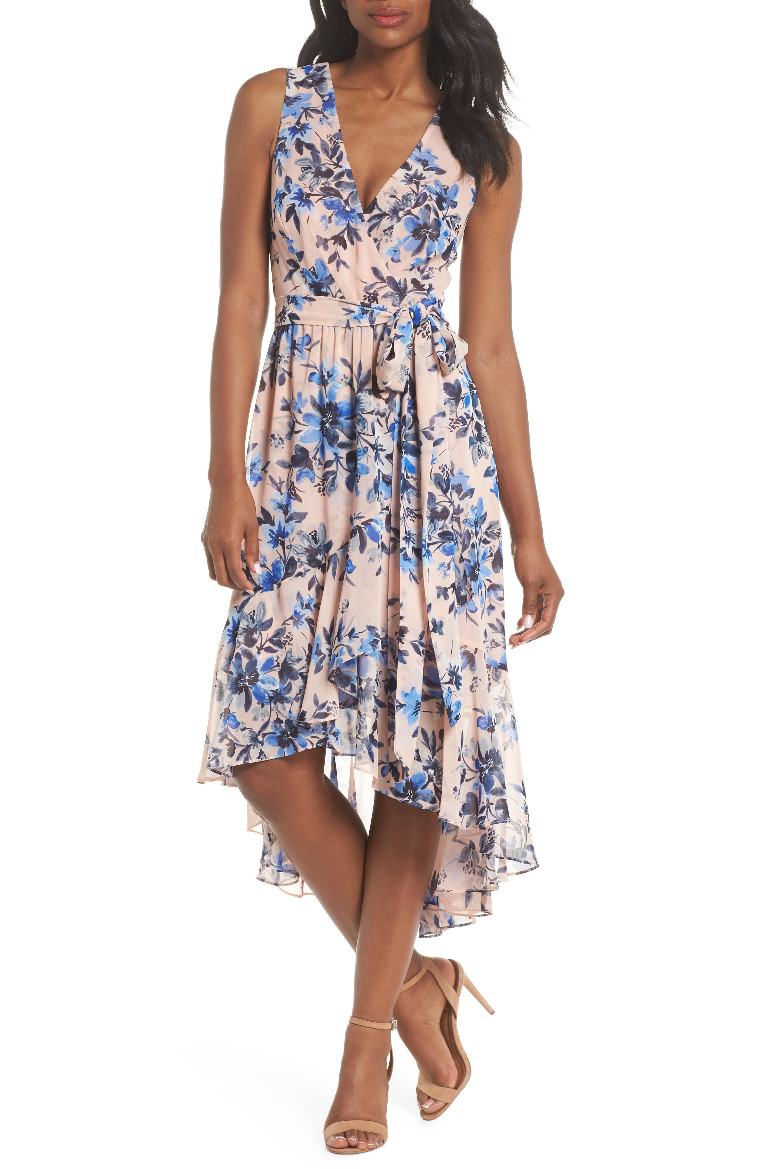 Sleeveless High/Low Dress,                             Main thumbnail 1, color,                             Blush/ Blue