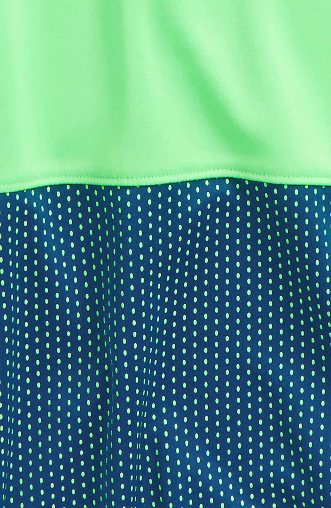 Baseline HeatGear<sup>®</sup> Hooded T-Shirt,                             Alternate thumbnail 2, color,                             Arena Green/ Moroccan Blue