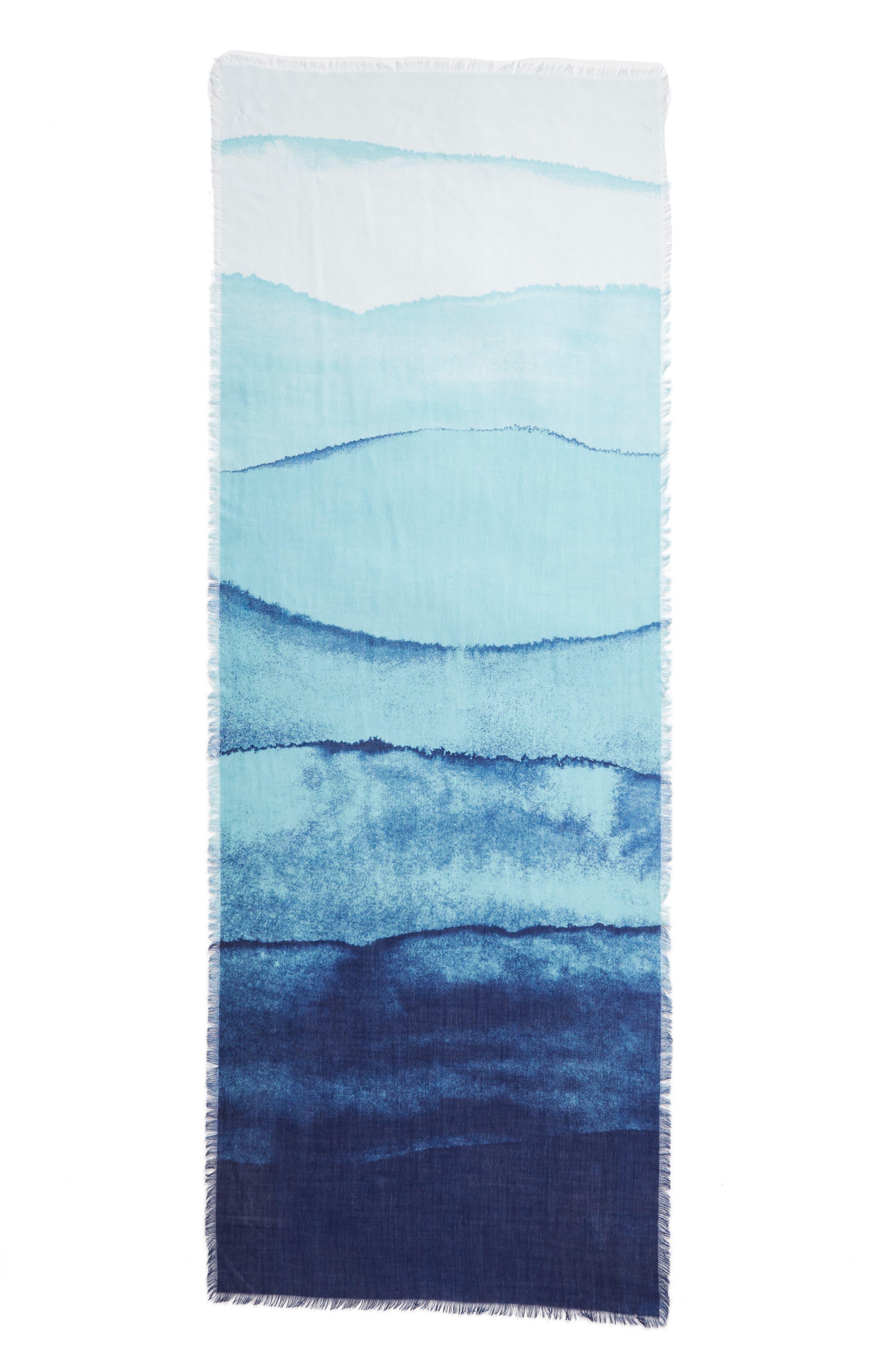 Eyelash Trim Print Cashmere & Silk Wrap,                             Alternate thumbnail 3, color,                             Teal Painterly Landscape