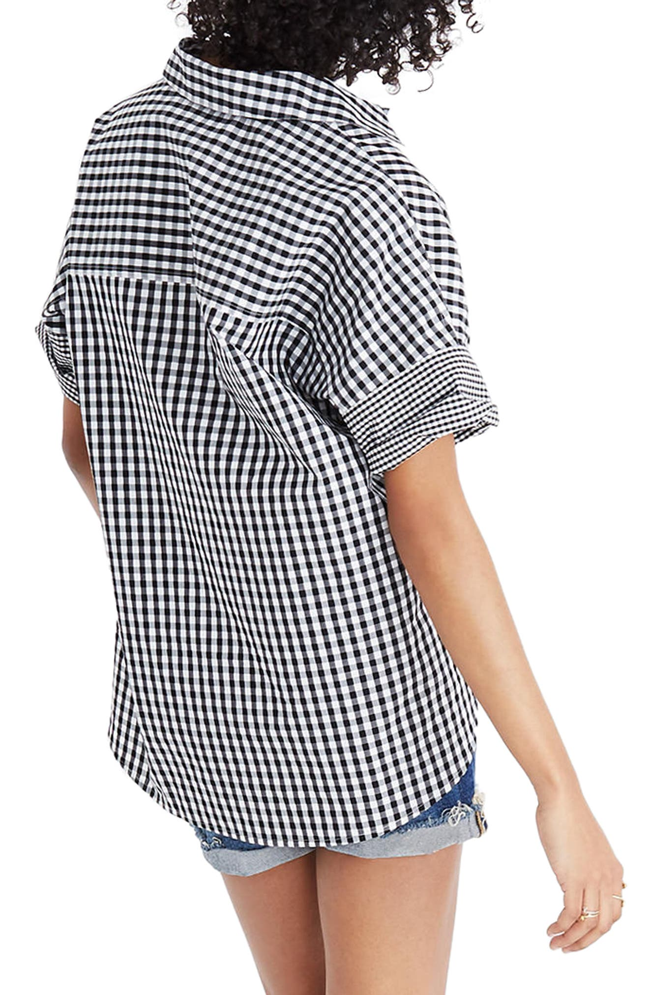 Gingham Play Button Down Shirt,                             Alternate thumbnail 2, color,                             True Black