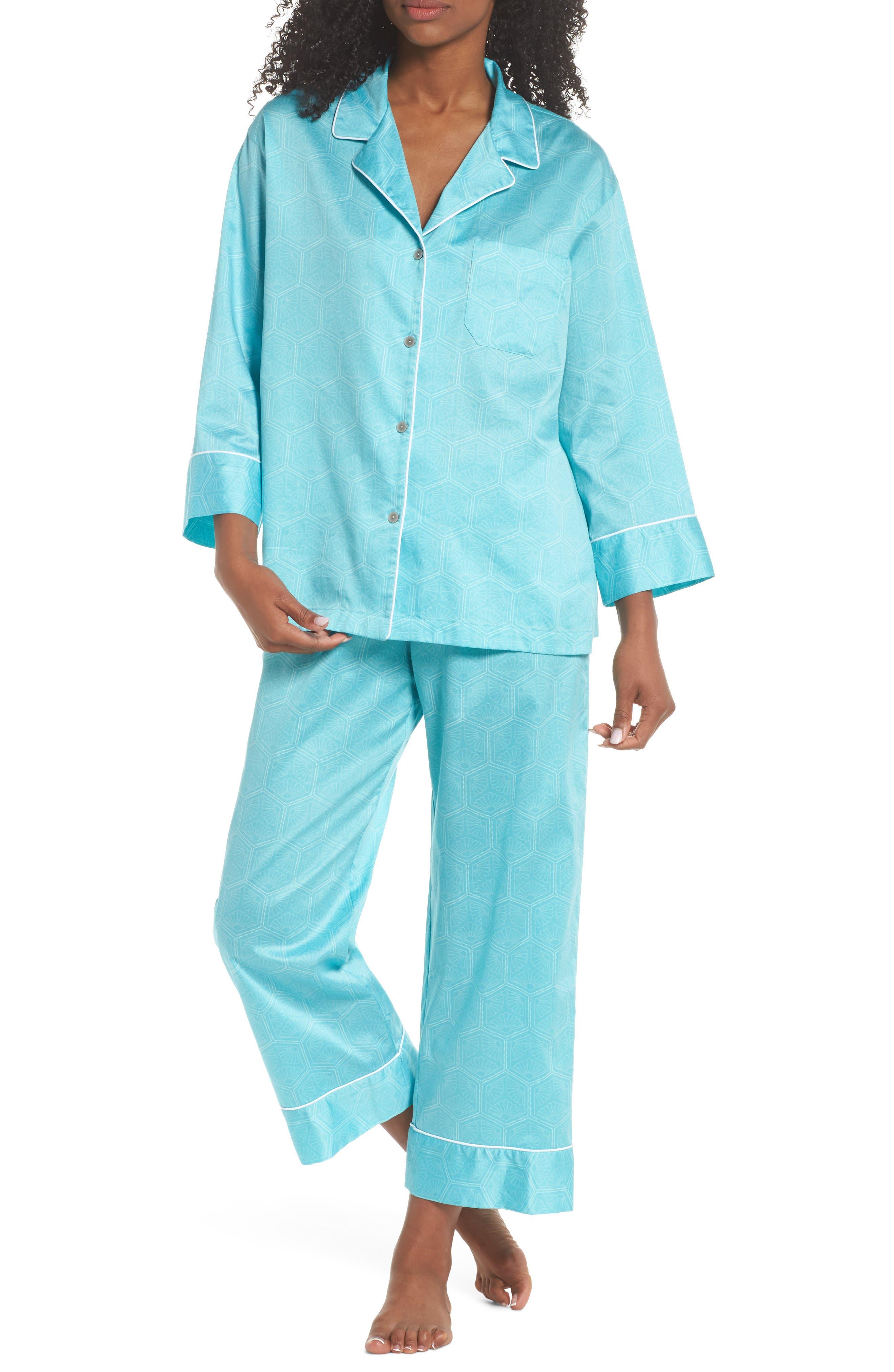 Fan Print Cotton Pajamas,                             Main thumbnail 1, color,                             Sea Glass