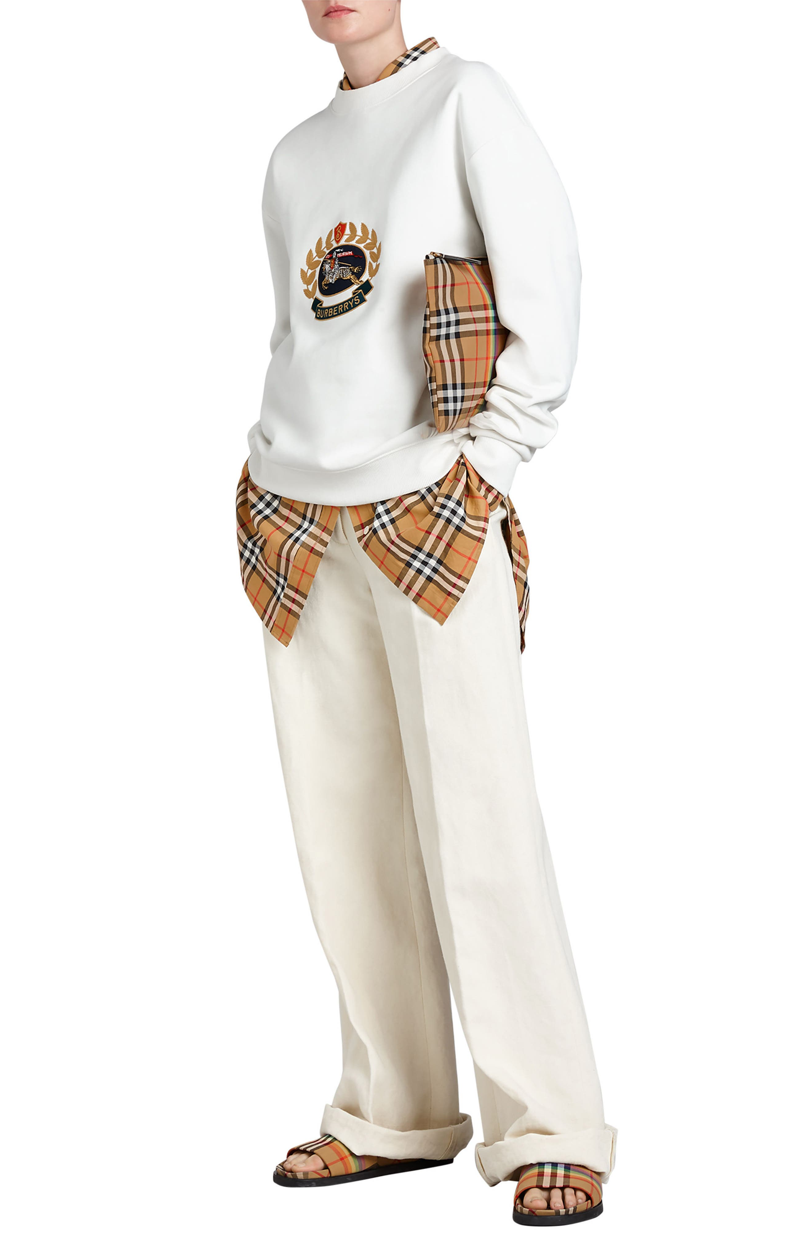 Vintage Crest Sweatshirt,                             Alternate thumbnail 7, color,                             Off White
