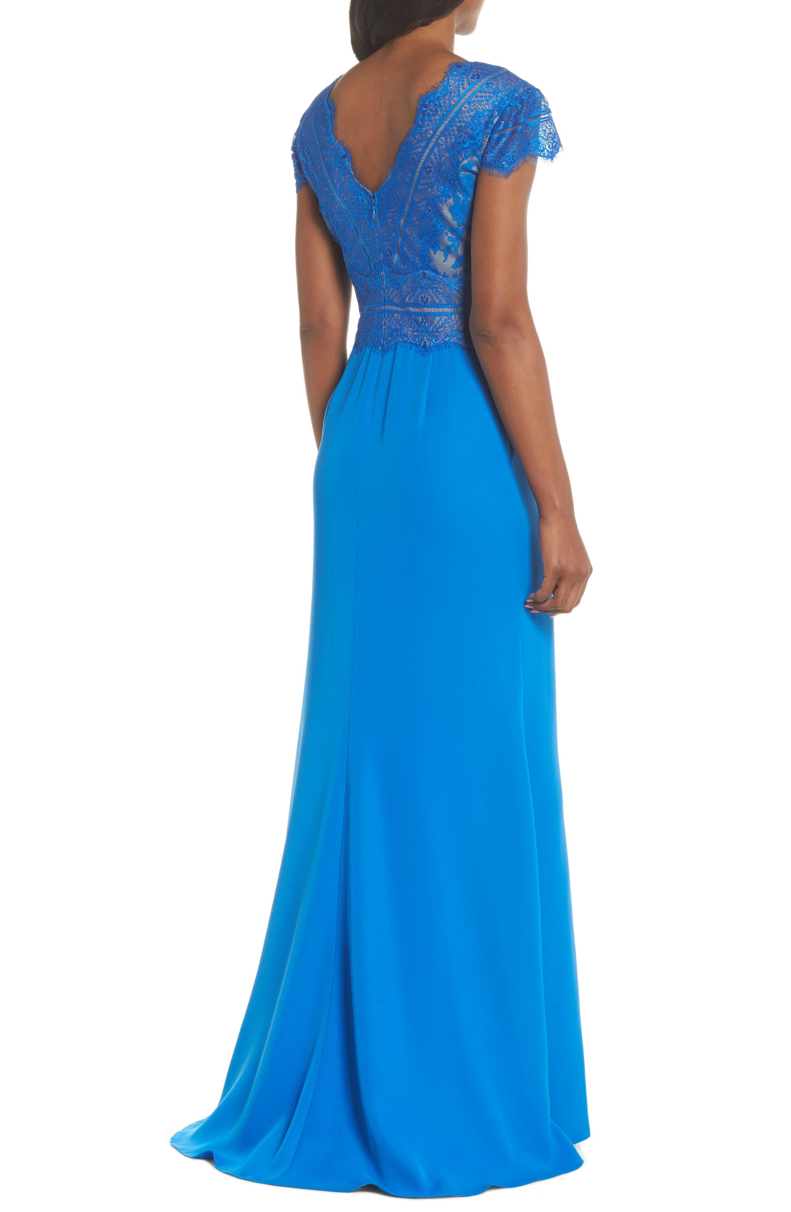 Lace & Crepe A-Line Gown,                             Alternate thumbnail 2, color,                             Azure