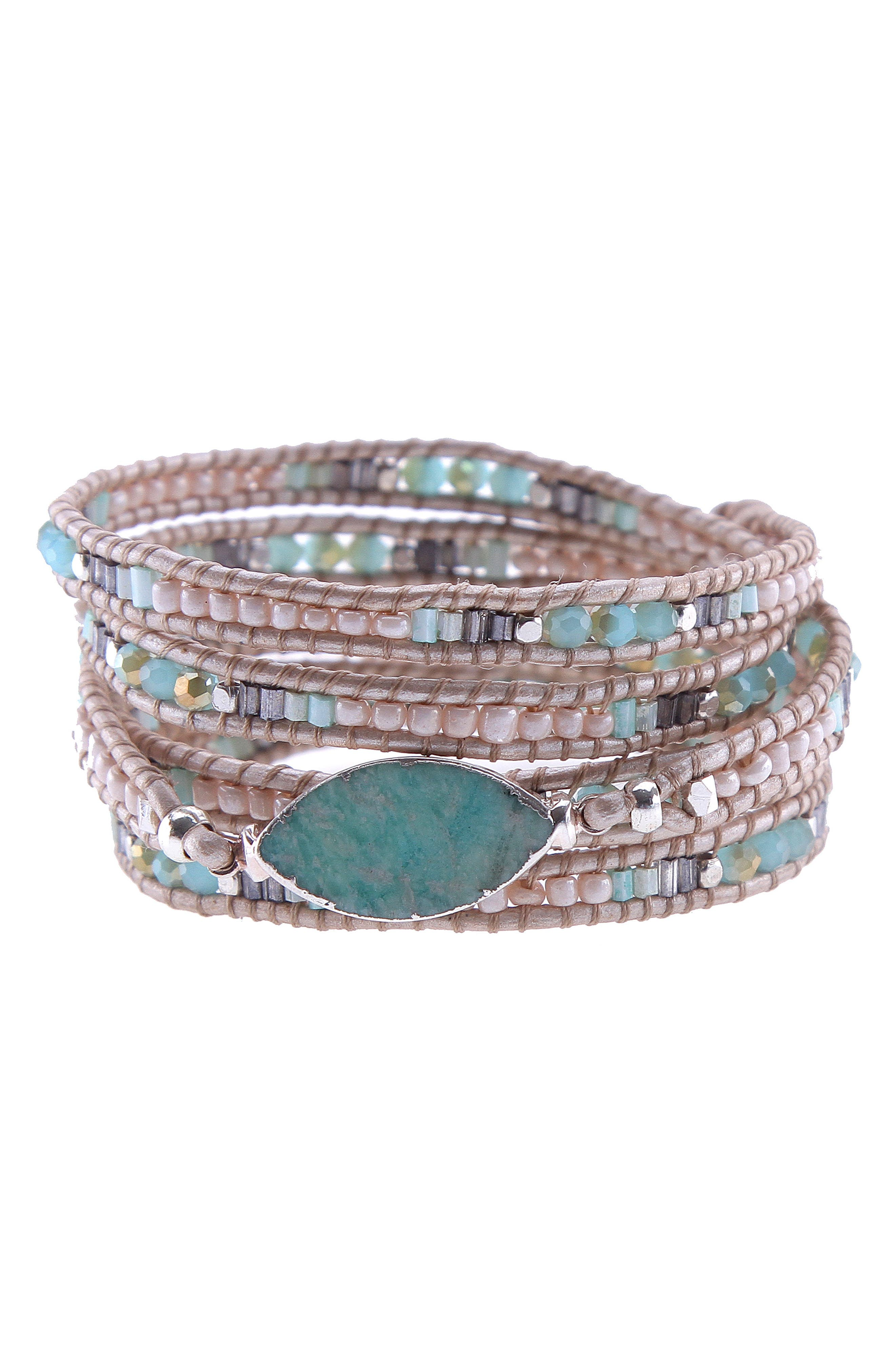 Beaded Agate Wrap Bracelet,                             Main thumbnail 1, color,                             Aqua