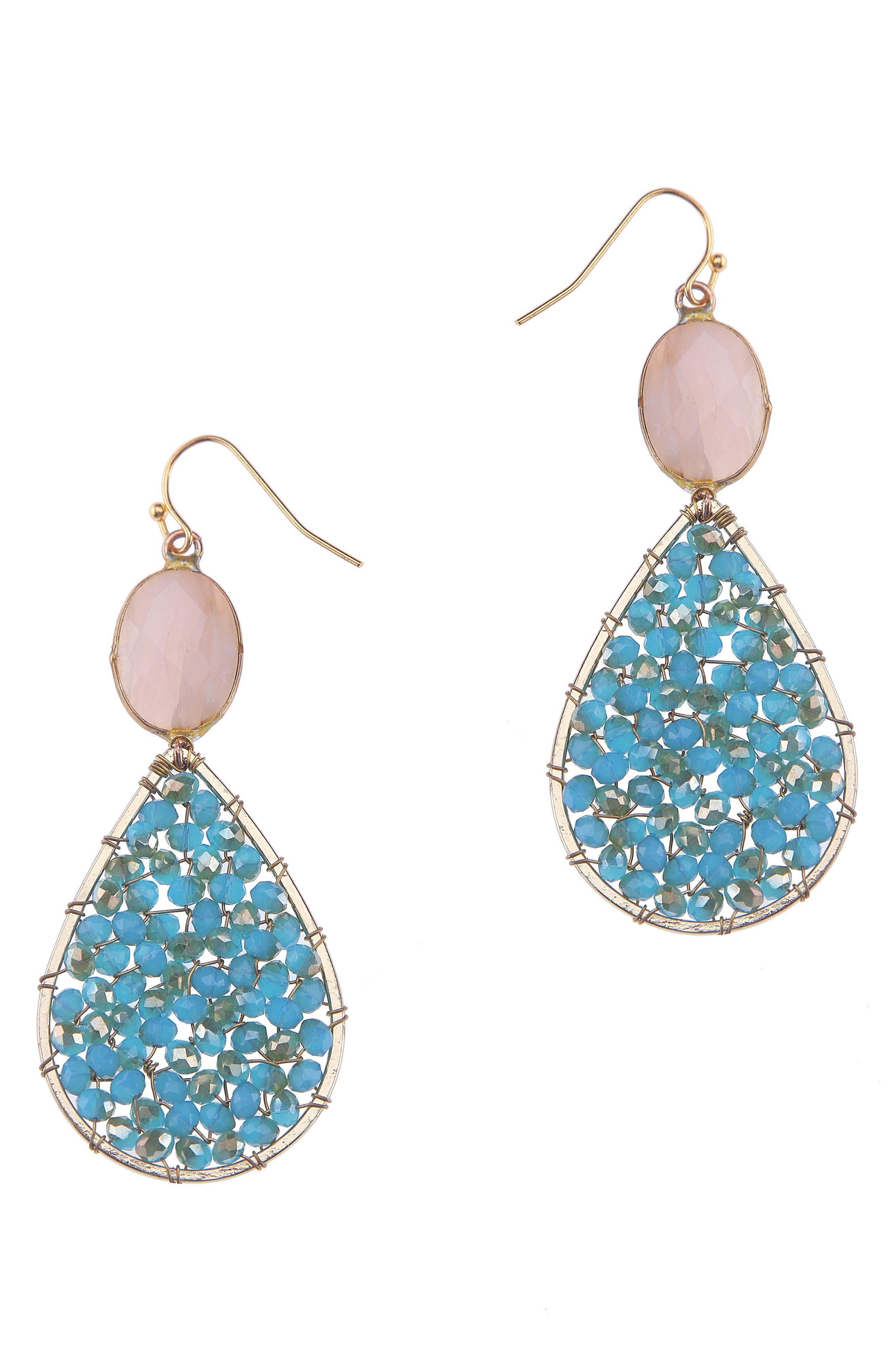 Crystal Teardrop Earrings,                         Main,                         color, Aqua
