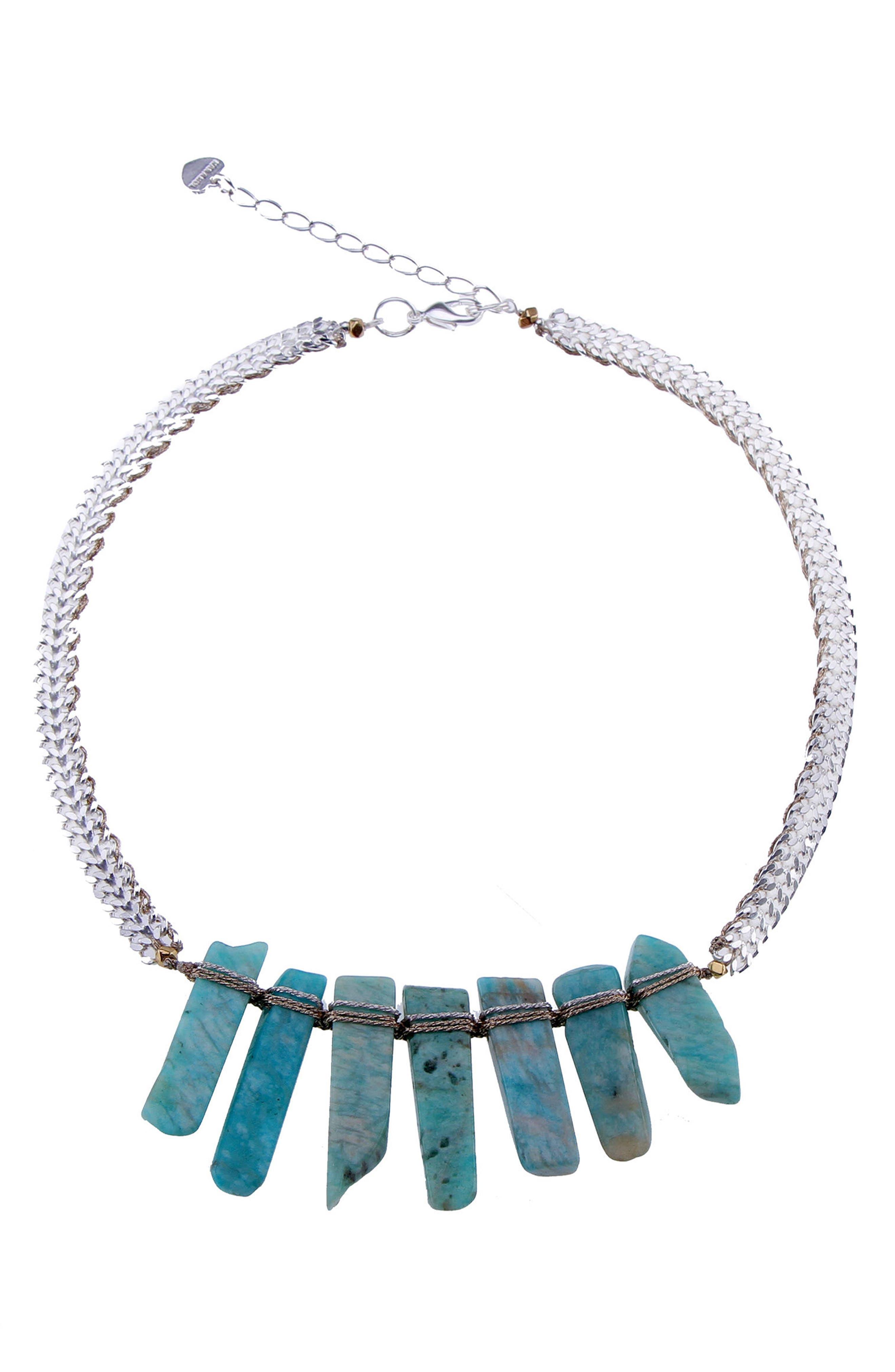 Amazonite Stick Statement Necklace,                             Main thumbnail 1, color,                             Aqua
