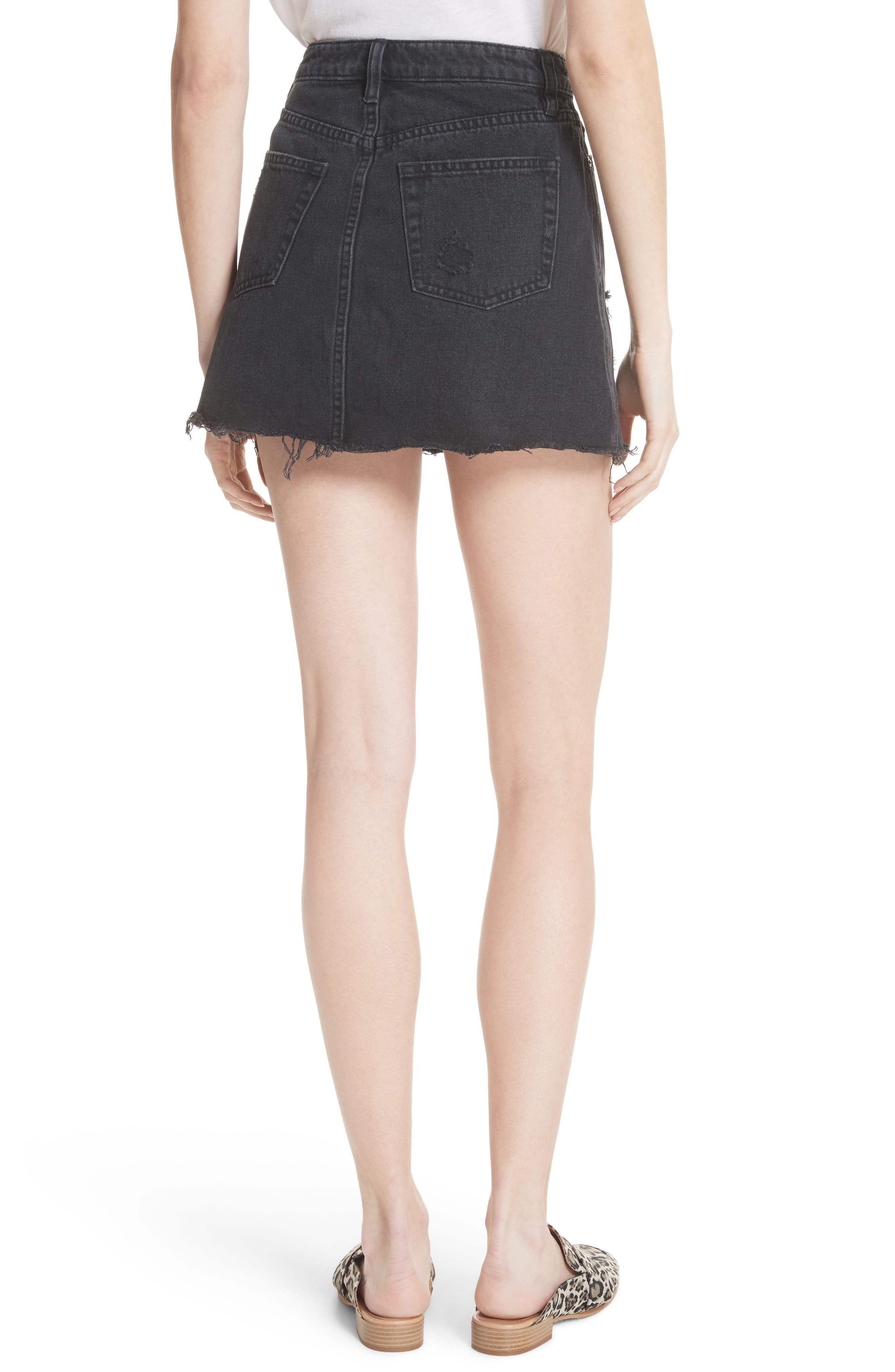 Denim A-Line Skirt,                             Alternate thumbnail 2, color,                             Black