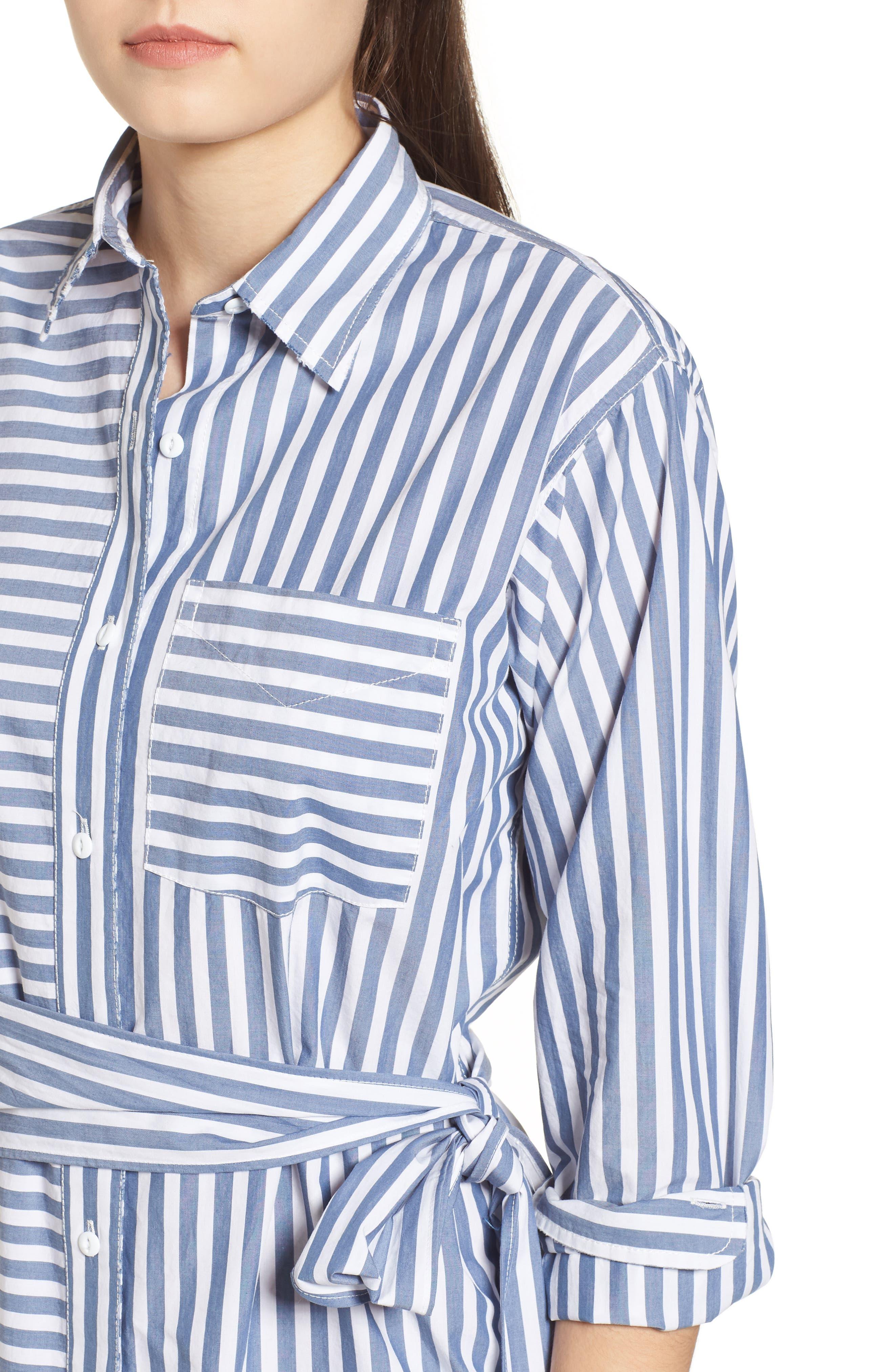 The Alda Stripe Belted Shirtdress,                             Alternate thumbnail 4, color,                             Blue Lagoon Stripe