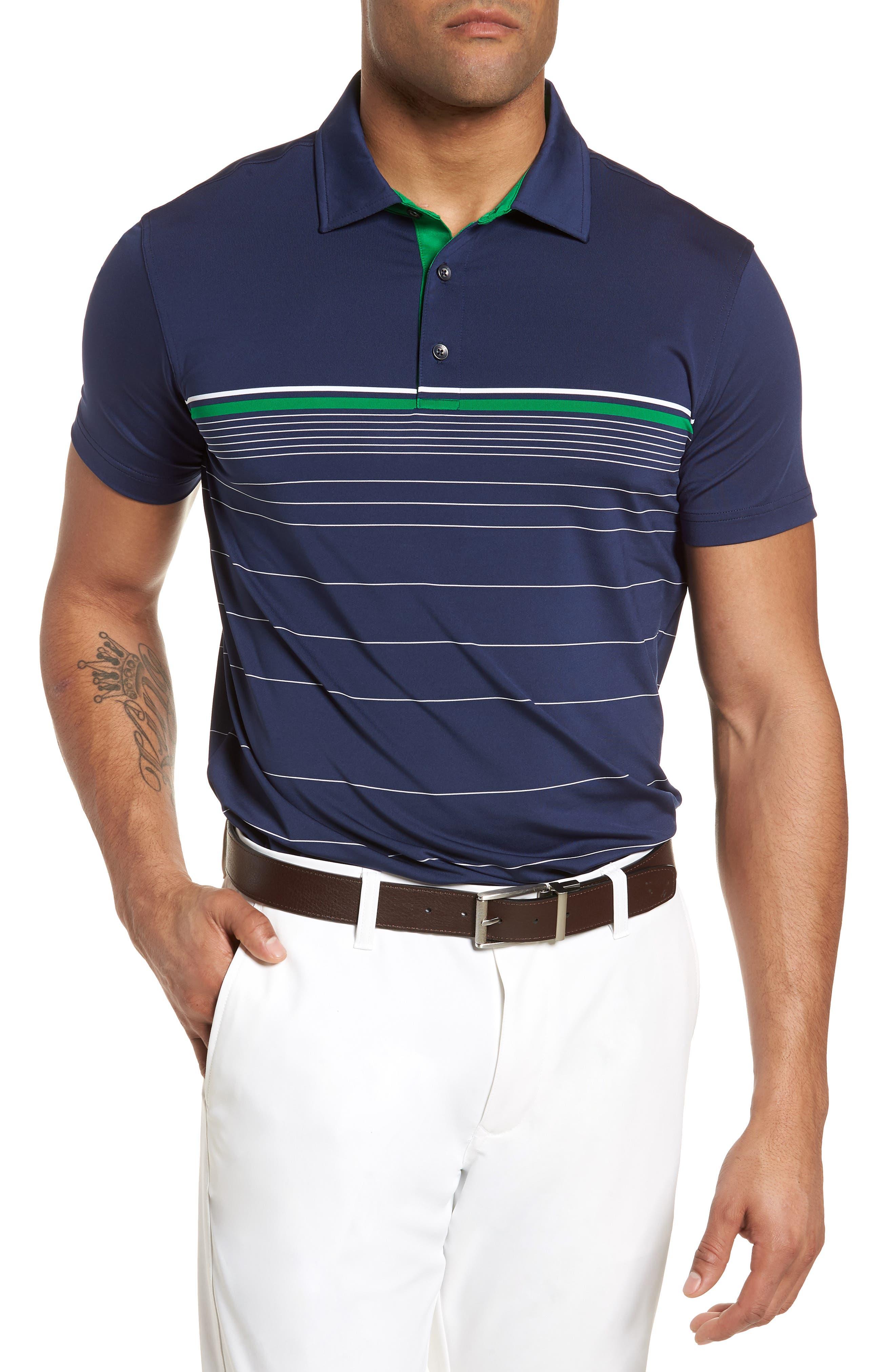 R18 Tech Skill Stripe Polo,                         Main,                         color, Navy