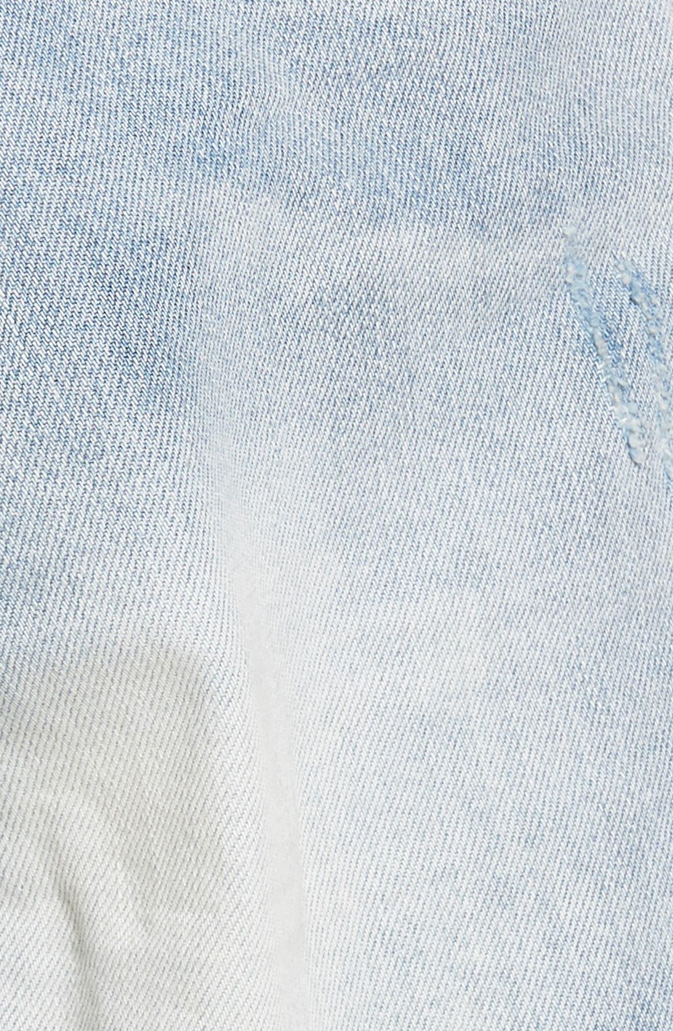 Arien High Waist Cutoff Denim Shorts,                             Alternate thumbnail 5, color,                             Washed Blue