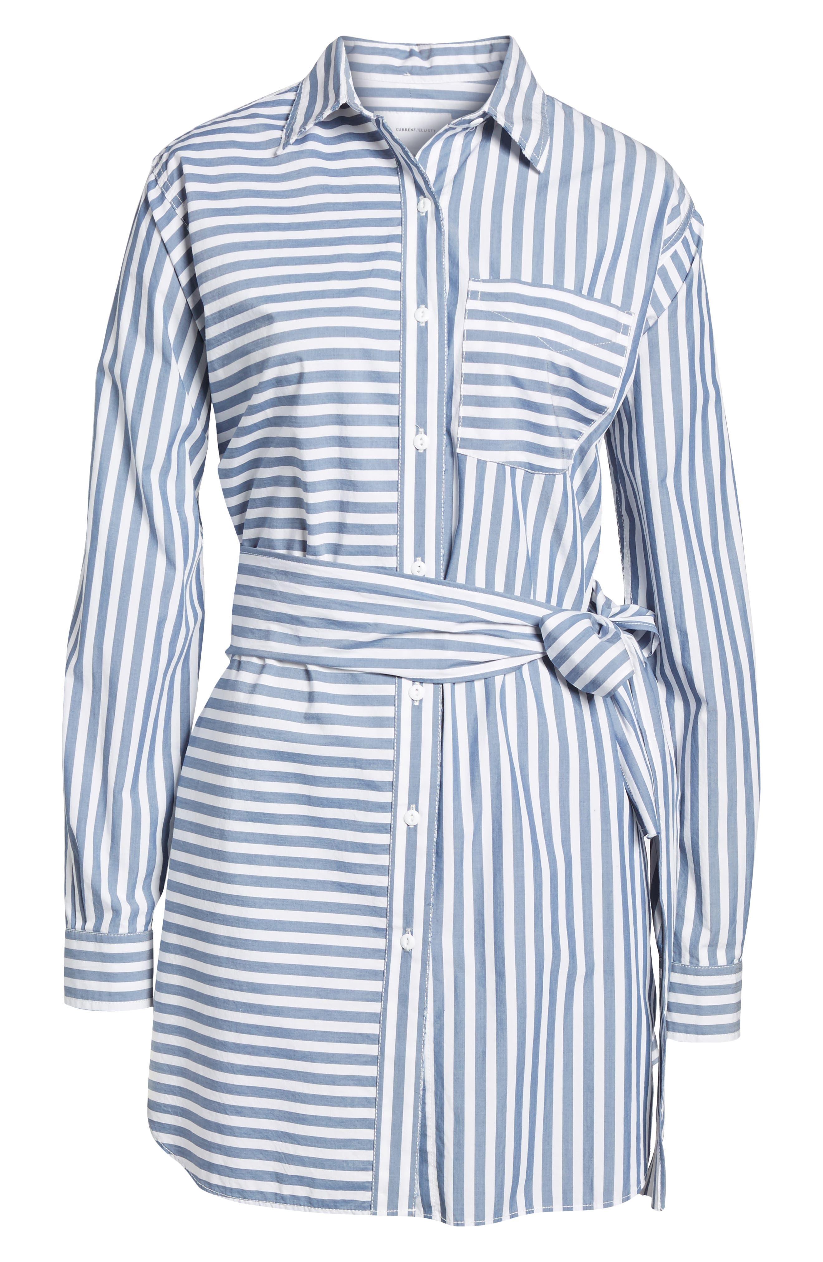 The Alda Stripe Belted Shirtdress,                             Alternate thumbnail 6, color,                             Blue Lagoon Stripe