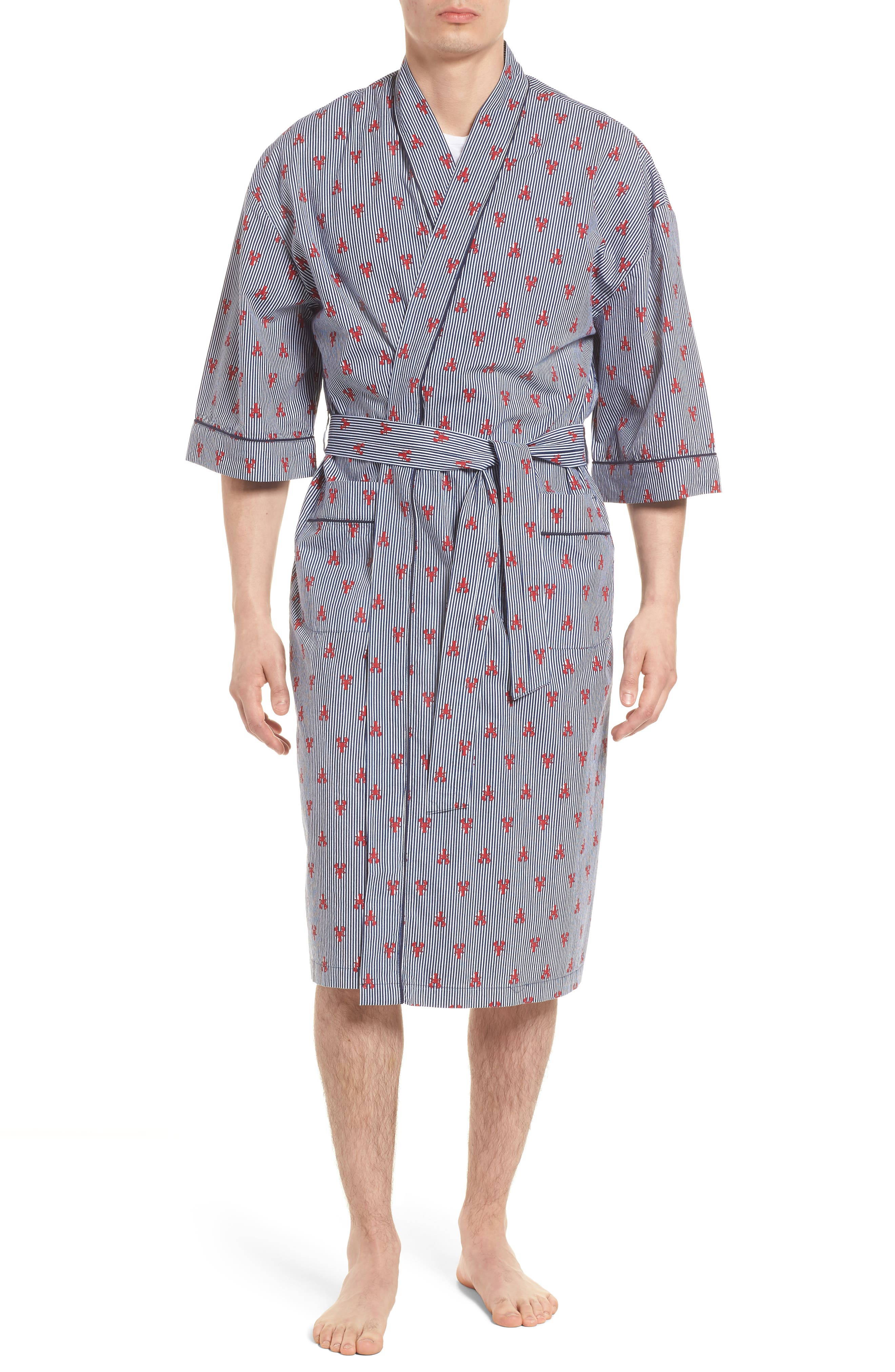 All Hands On Deck Robe,                         Main,                         color, Lobster Stripe