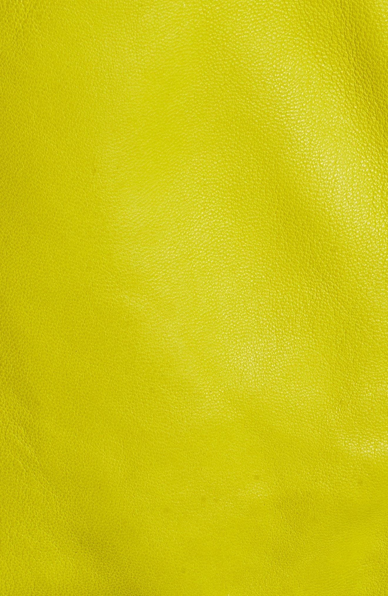 Washed Green Leather Moto Vest,                             Alternate thumbnail 5, color,                             Canary