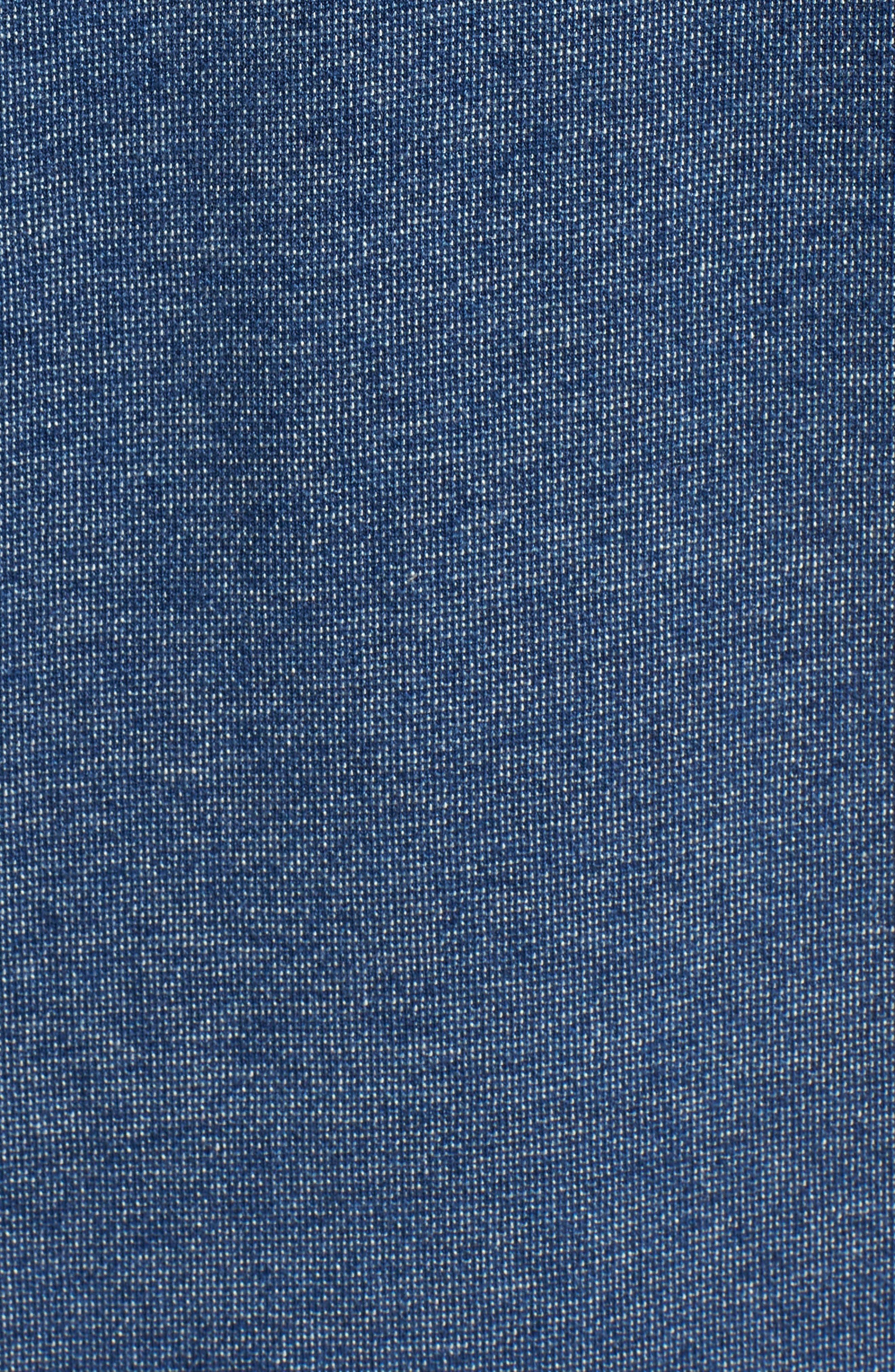 Belmar Chambray Knit Sport Shirt,                             Alternate thumbnail 5, color,                             Medium Wash Indigo