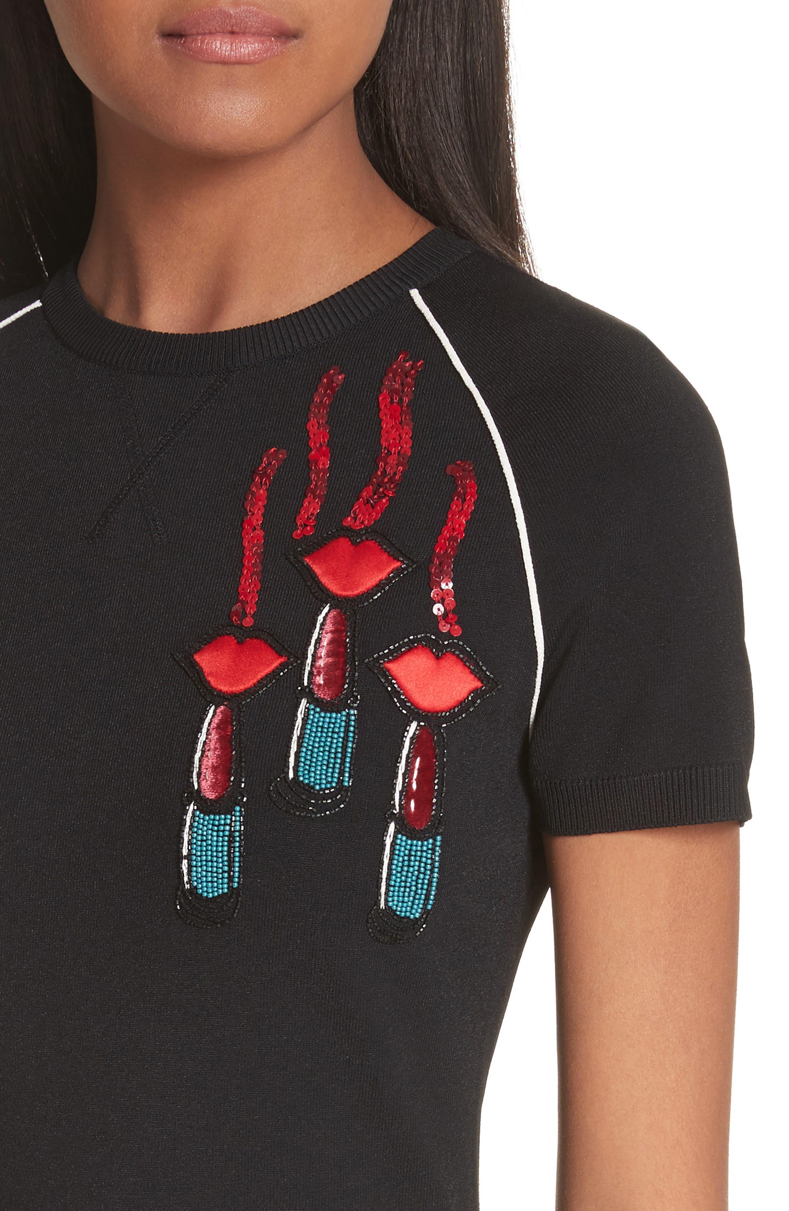Lipstick Embellished A-Line Dress,                             Alternate thumbnail 4, color,                             Black