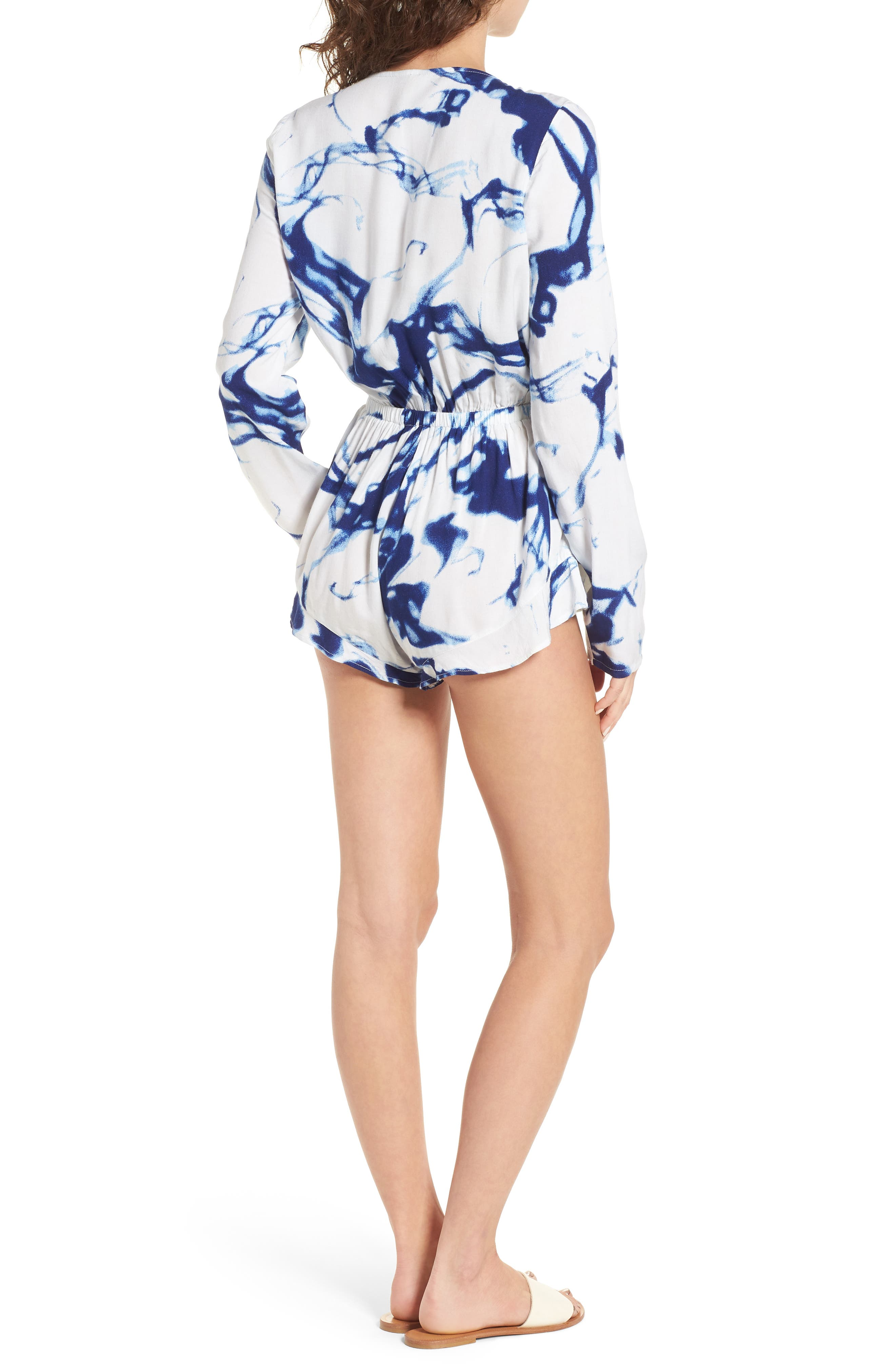 Into the Abyss Plunge Neck Romper,                             Alternate thumbnail 3, color,                             Blue/ White
