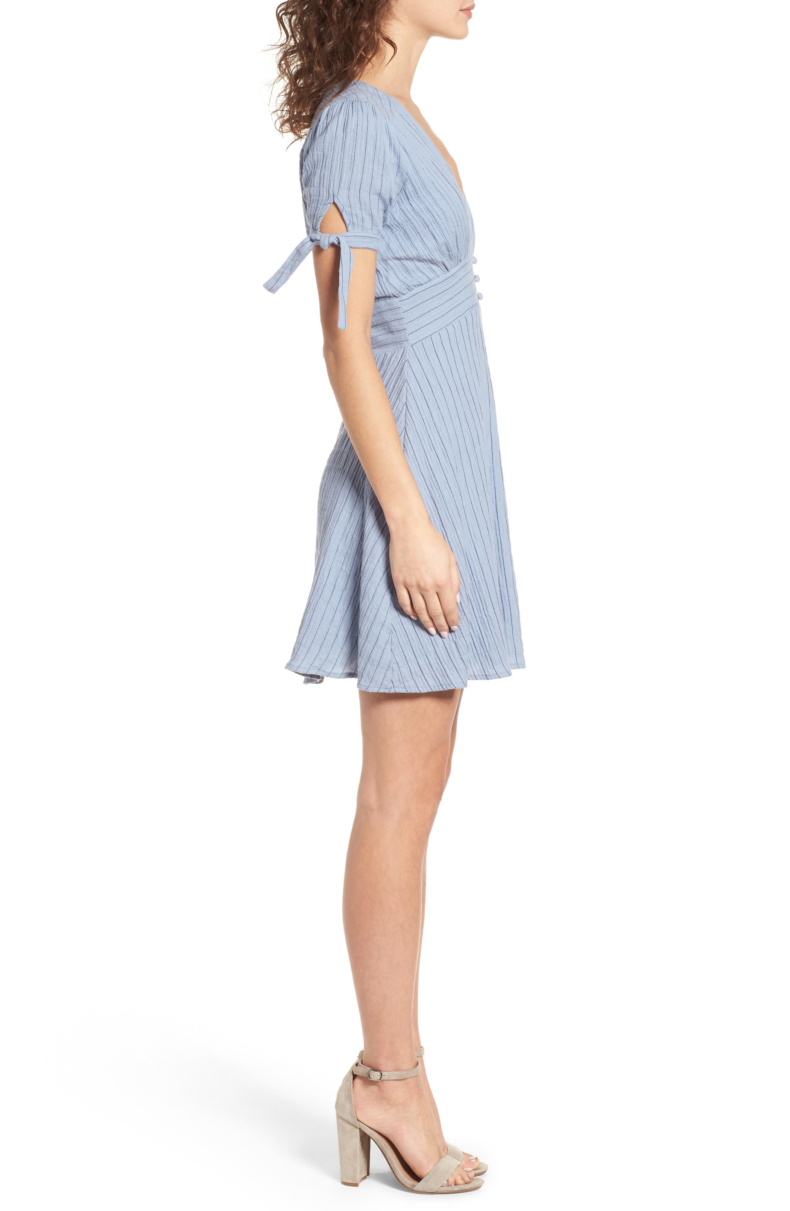 Sky Stripe Tie Sleeve Dress,                             Alternate thumbnail 4, color,                             Blue