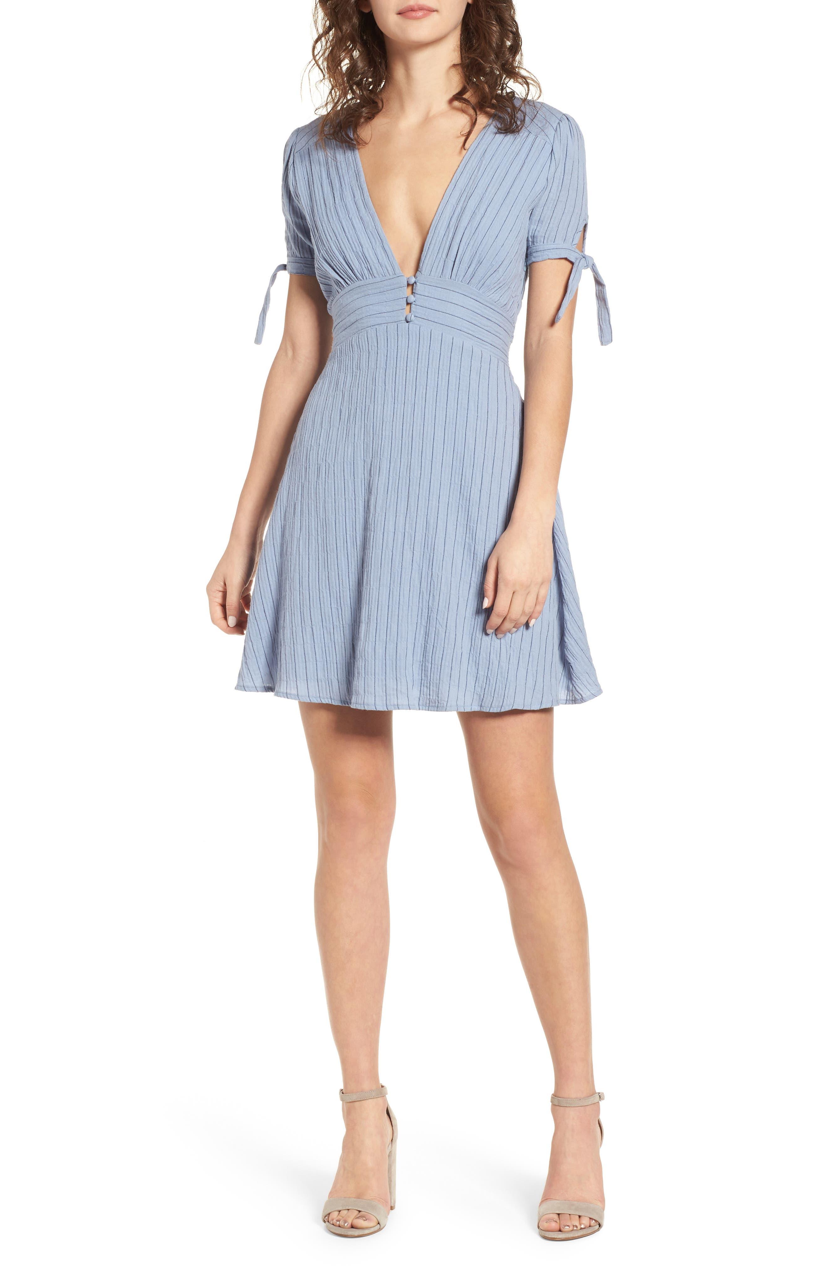 Sky Stripe Tie Sleeve Dress,                             Main thumbnail 1, color,                             Blue