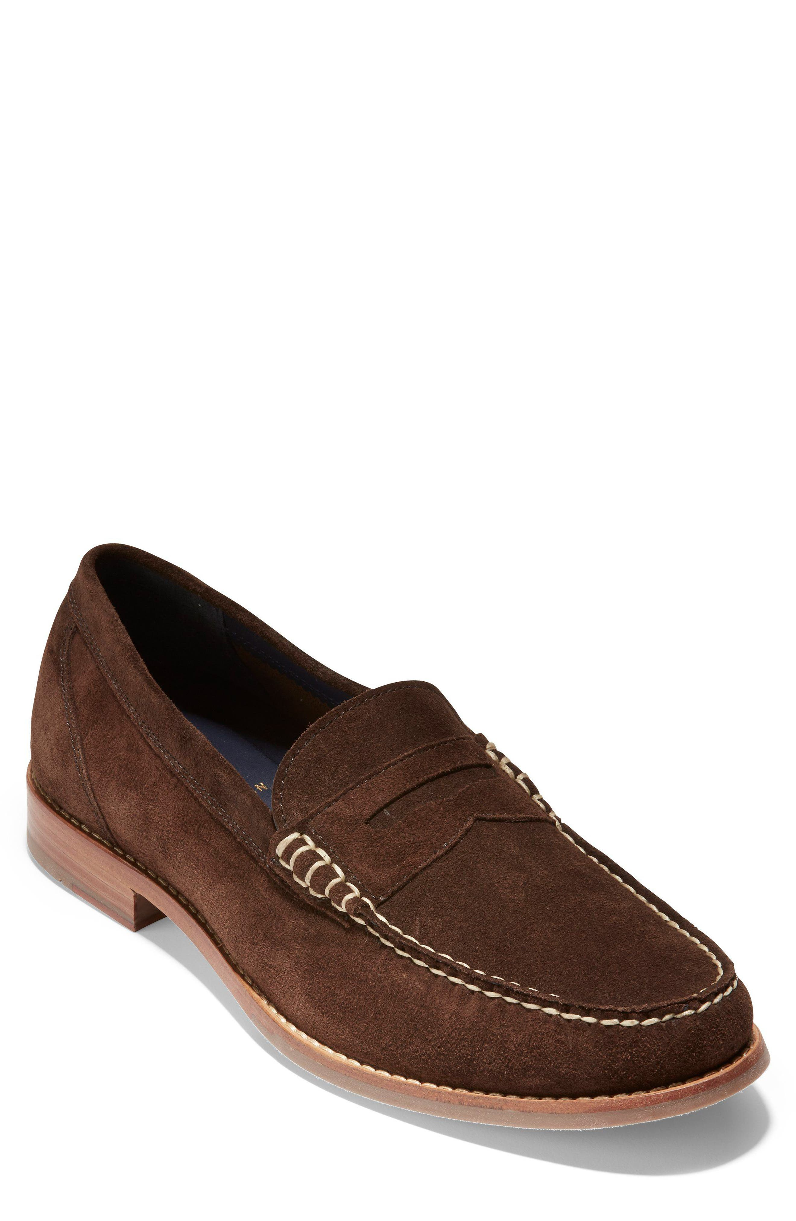 'Pinch Grand' Penny Loafer,                             Main thumbnail 1, color,                             Brown Suede