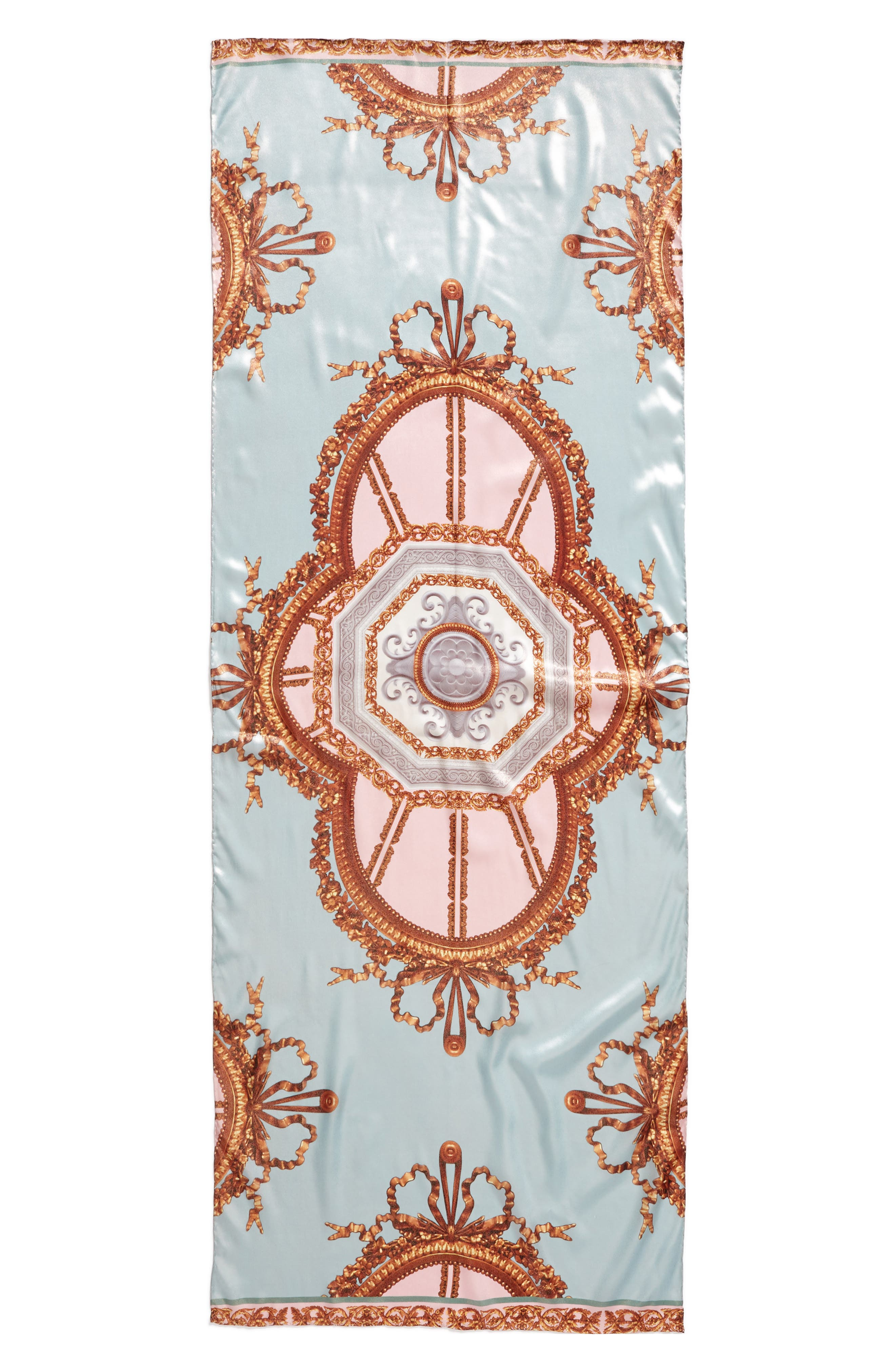 Versailles Silk Scarf,                             Alternate thumbnail 3, color,                             Teal