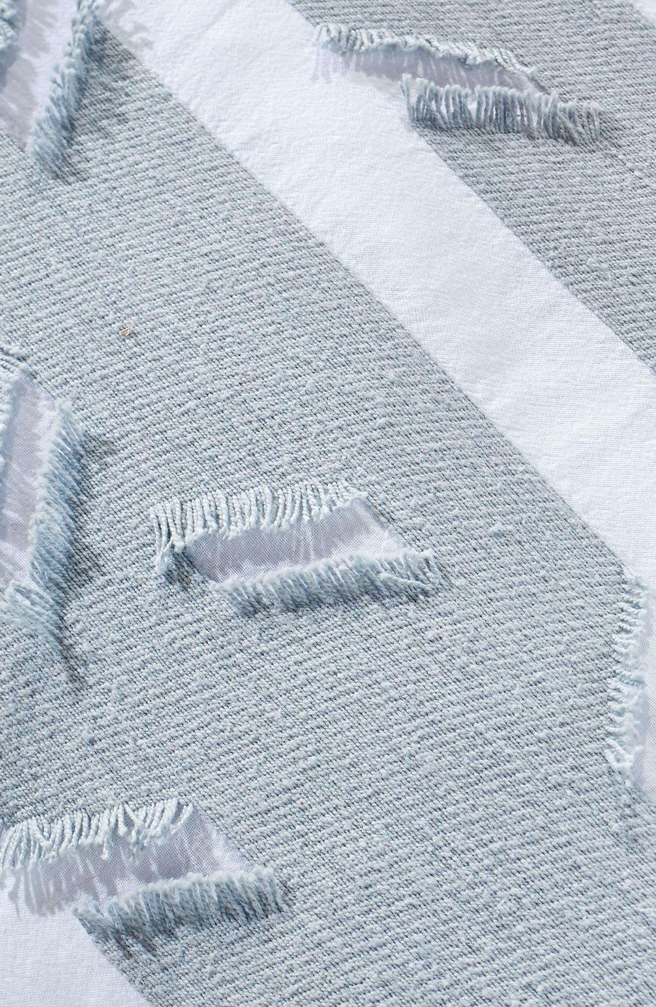Stripe Fringe Duvet Cover,                             Alternate thumbnail 4, color,                             Blue