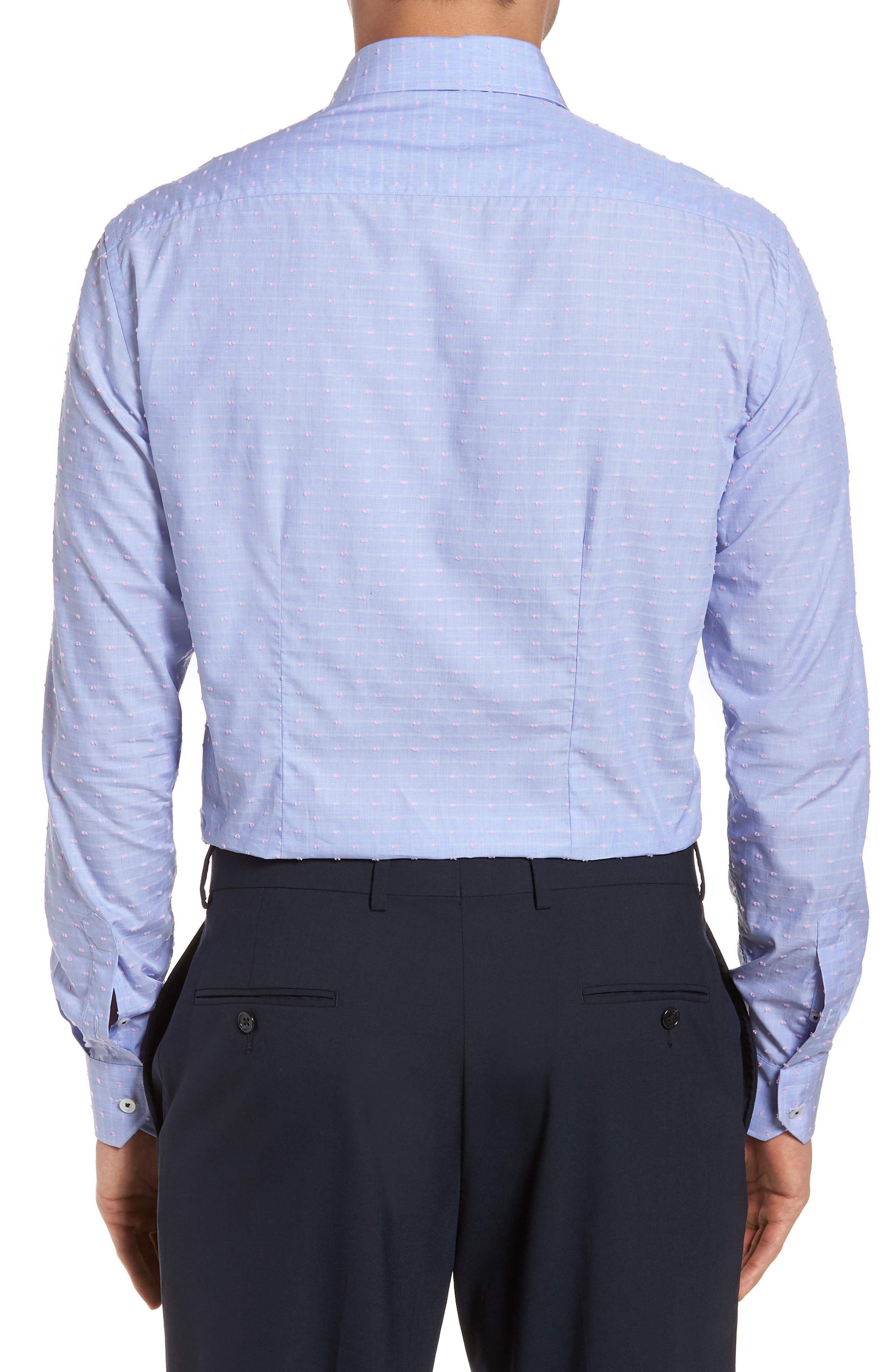 Tailored Fit Soft Touch Fil Coupé Sport Shirt,                             Alternate thumbnail 2, color,                             Blue