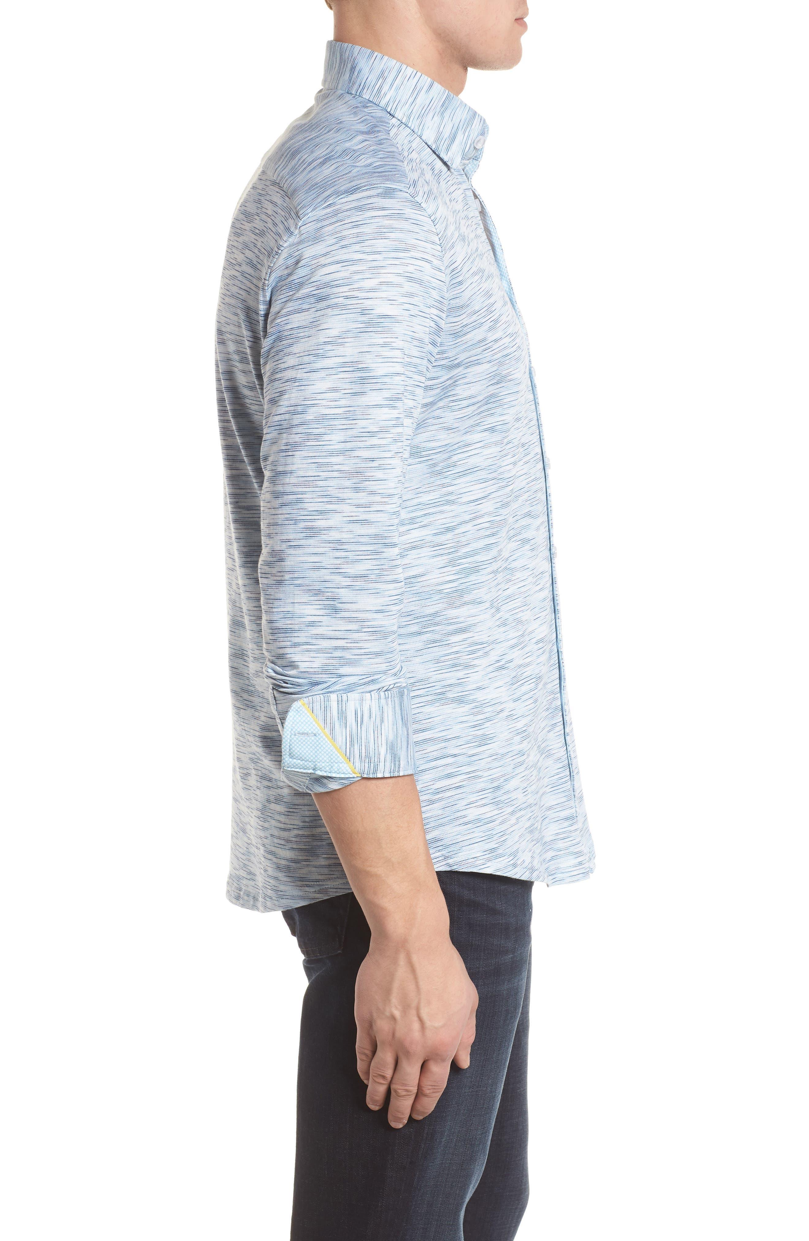 Contemporary Fit Print Sport Shirt,                             Alternate thumbnail 3, color,                             Blue
