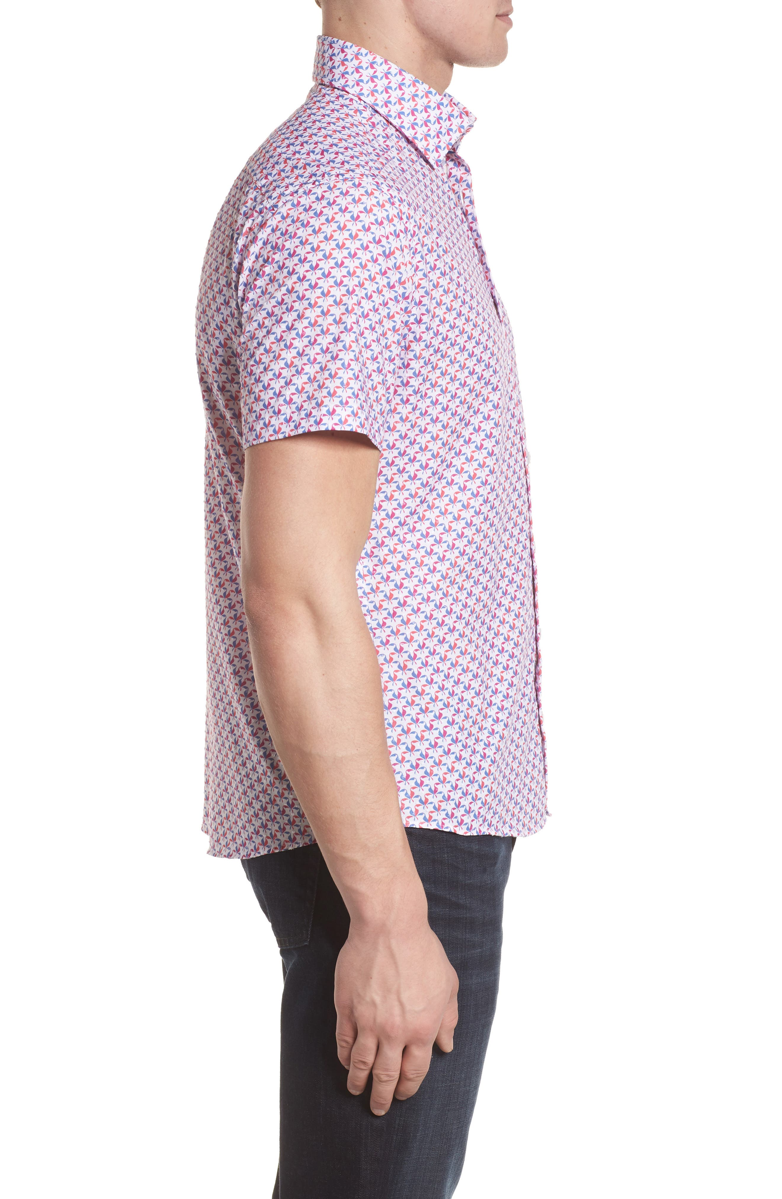 Contemporary Fit Toucan Print Sport Shirt,                             Alternate thumbnail 3, color,                             Berry