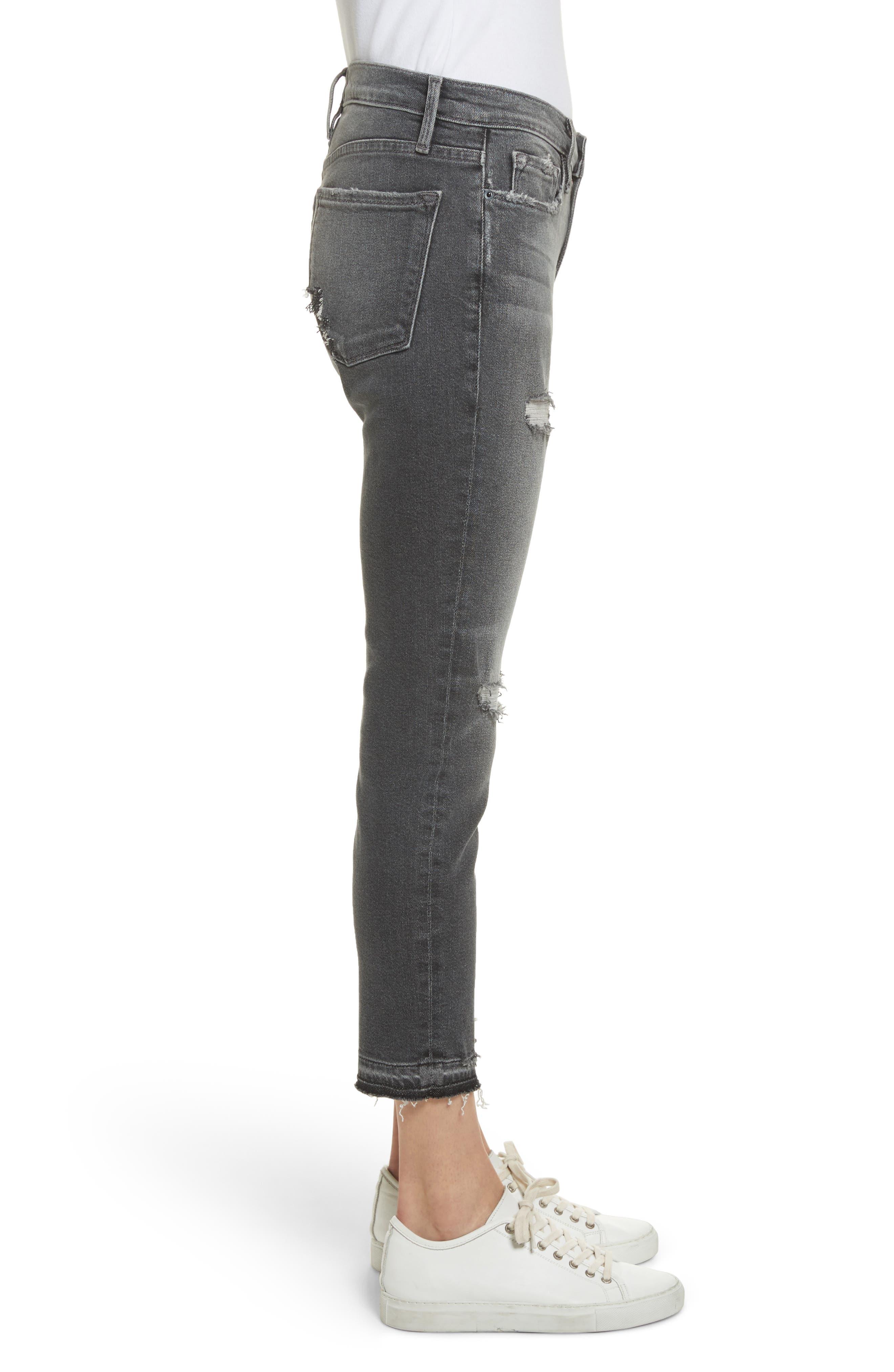 Le Garçon Ripped Released Hem Slim Jeans,                             Alternate thumbnail 4, color,                             Stockcross