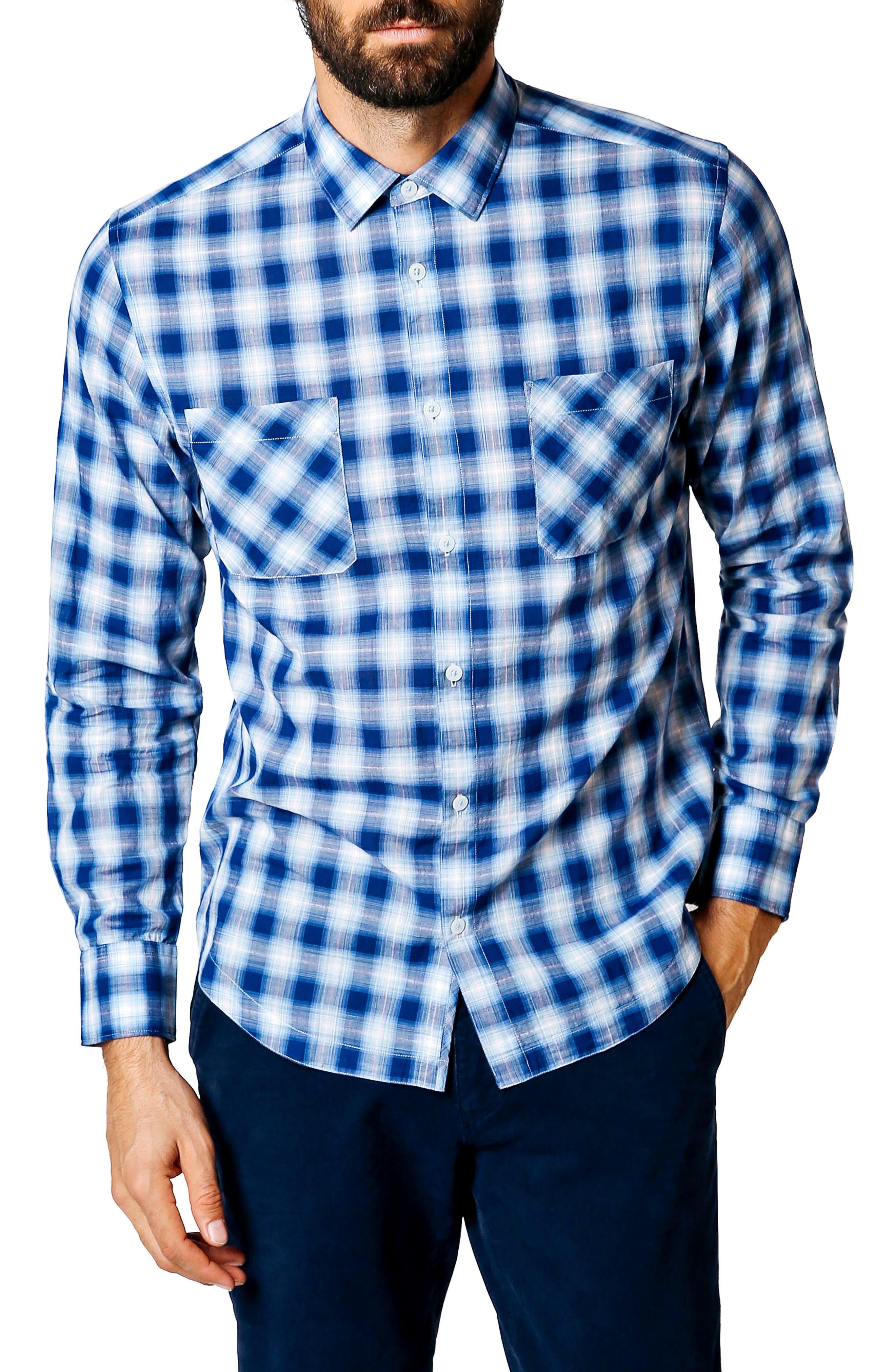 Trim Fit Plaid Sport Shirt,                         Main,                         color, Indigo