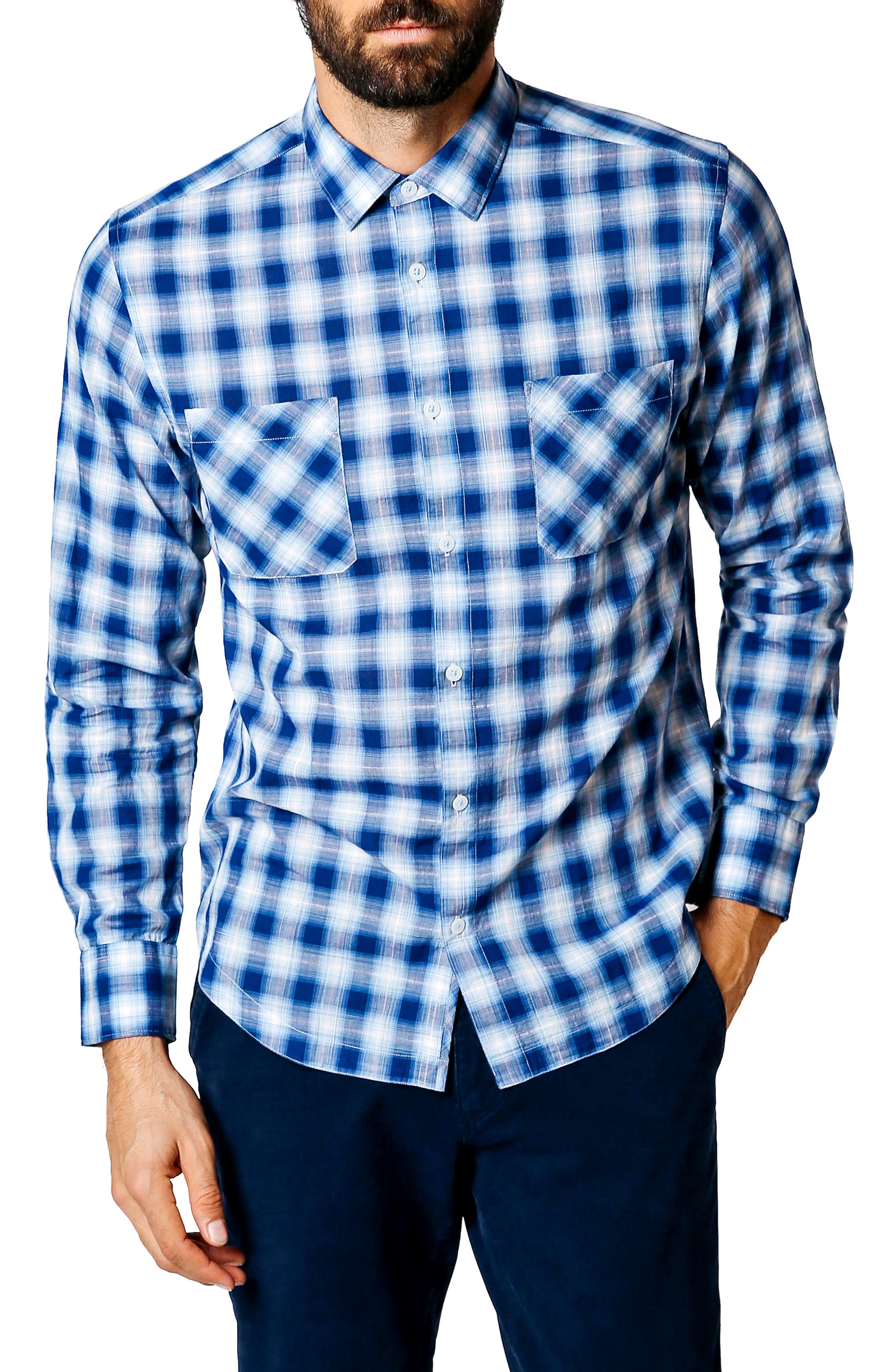 Good Man Brand Trim Fit Plaid Sport Shirt