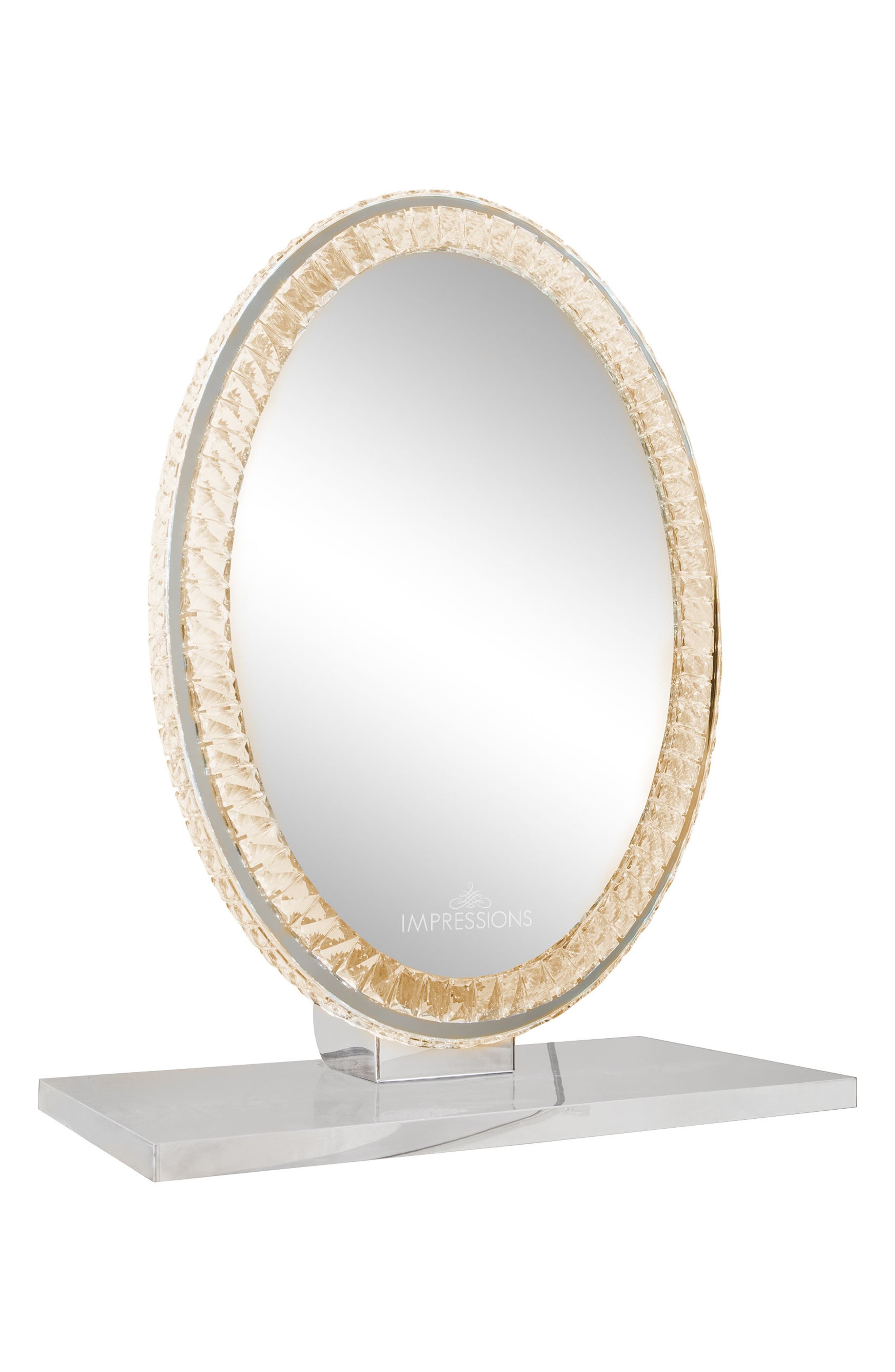 Diamond Collection Oval LED Vanity Mirror,                             Alternate thumbnail 2, color,                             Clear