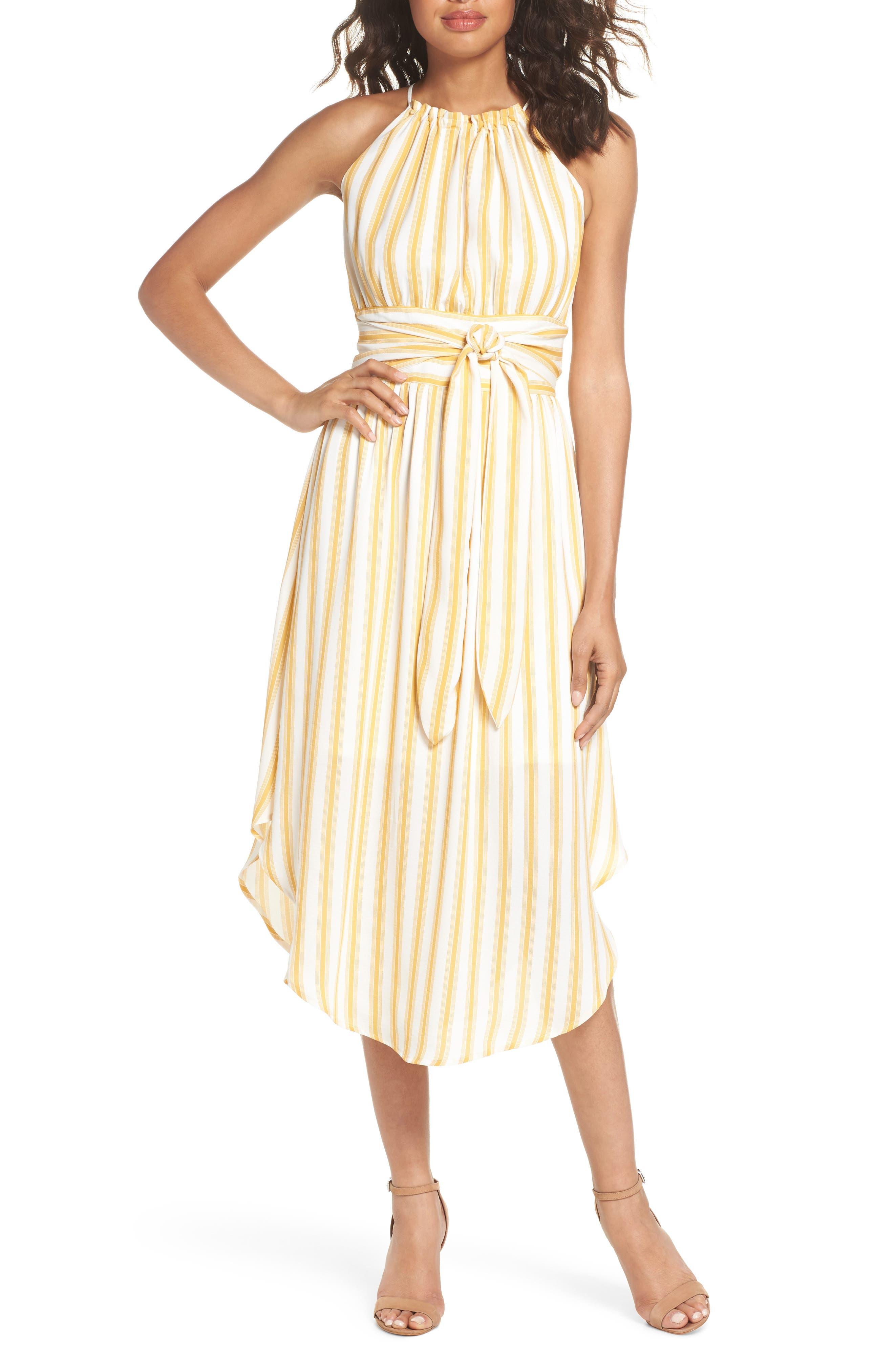 Leena Stripe Midi Dress,                         Main,                         color, Mustard