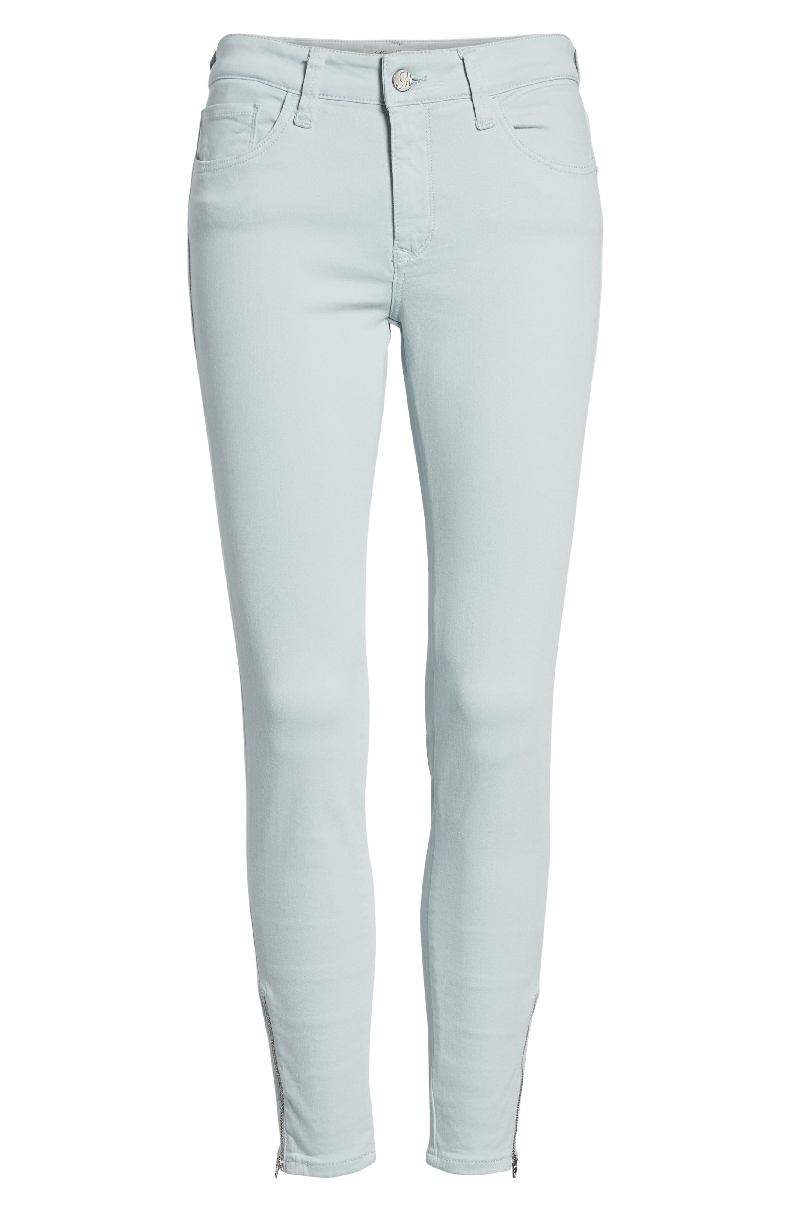 Adriana Zip Ankle Super Skinny Jeans,                             Alternate thumbnail 7, color,                             Zip Slate Twill