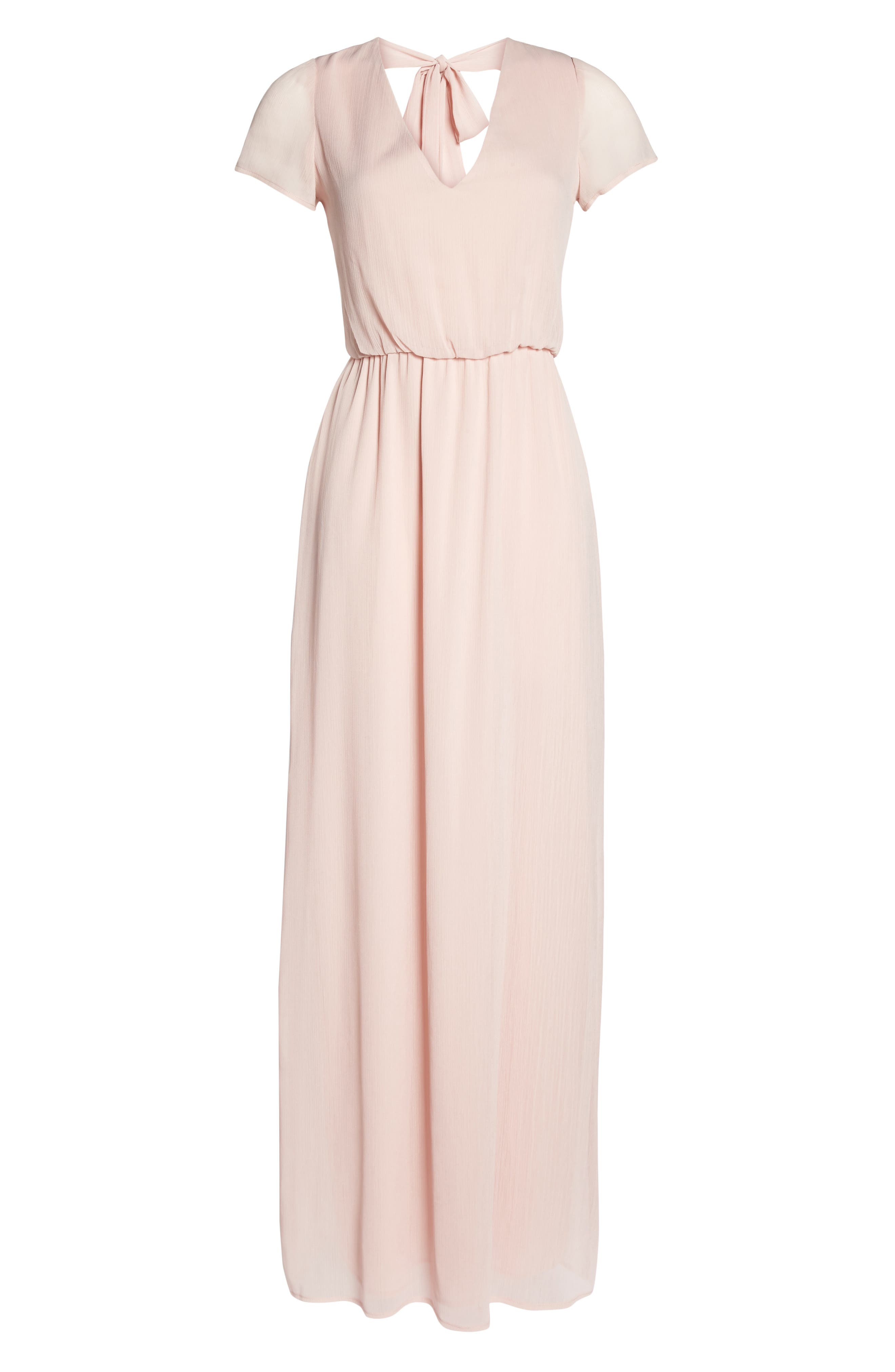 Anna Tie Back Gown,                             Alternate thumbnail 6, color,                             Ballet Pink