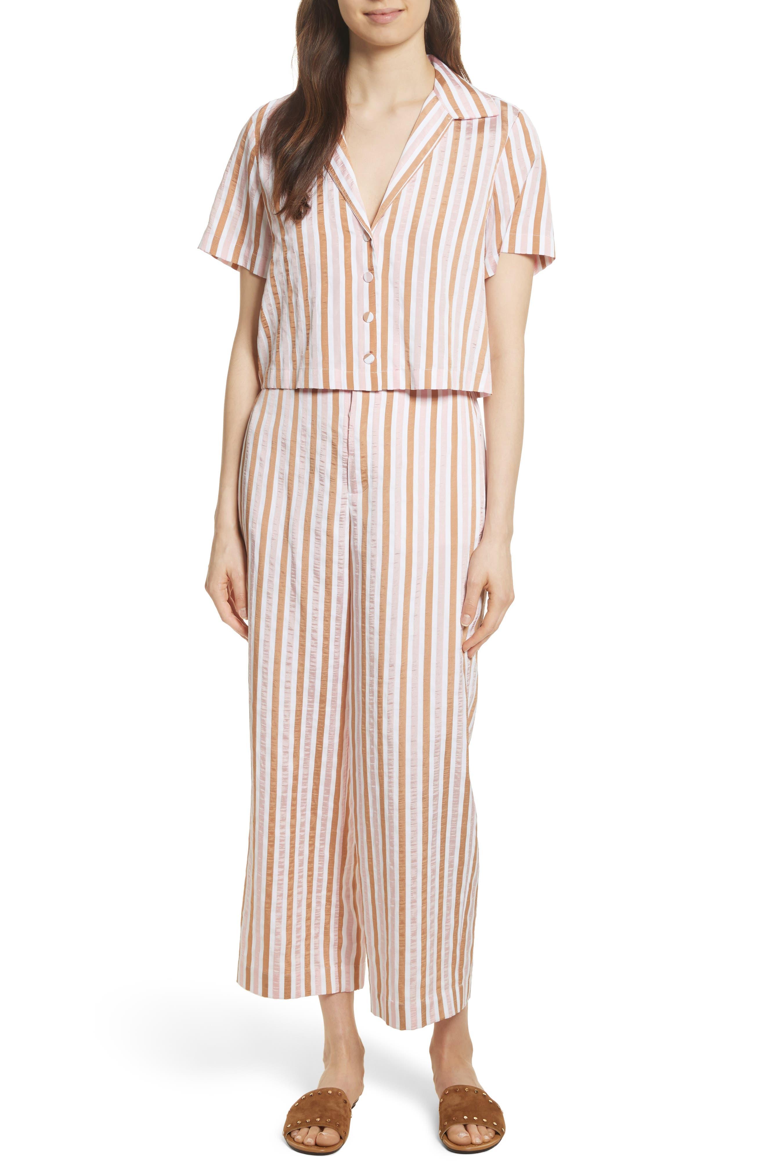 Stripe Mini Crop Shirt,                             Alternate thumbnail 8, color,                             Copper Multi