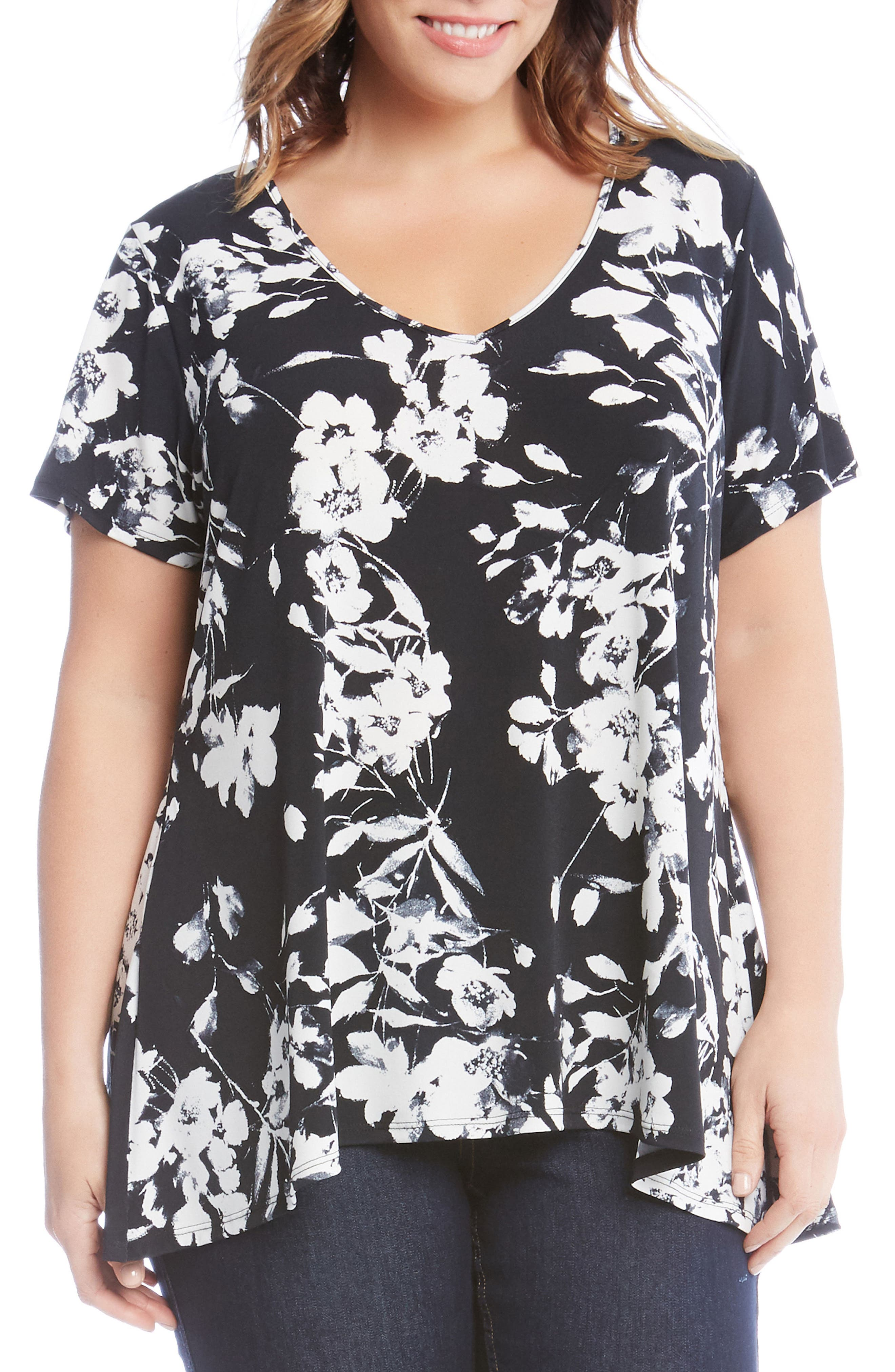 Floral Swing Top,                             Main thumbnail 1, color,                             Black