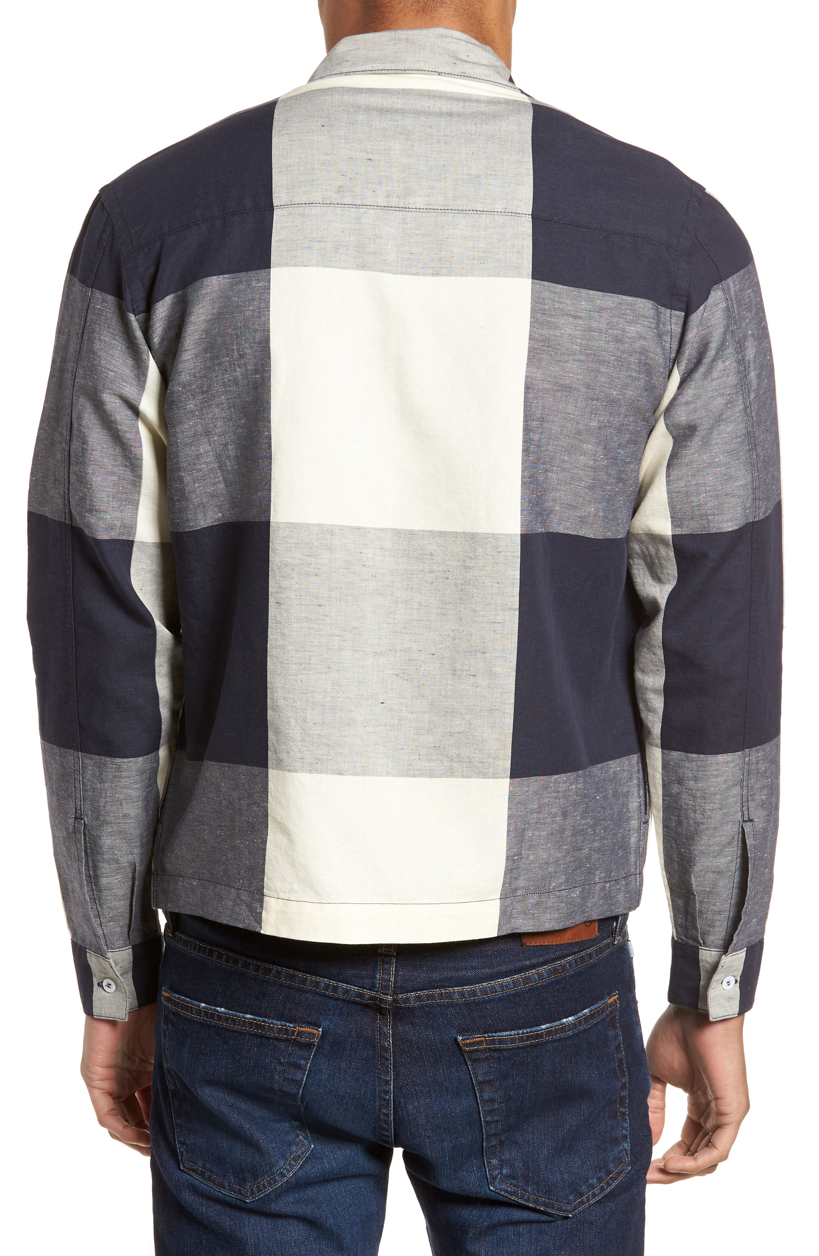 Doc Savage Regular Fit Check Sport Shirt,                             Alternate thumbnail 2, color,                             Ecru/ Navy
