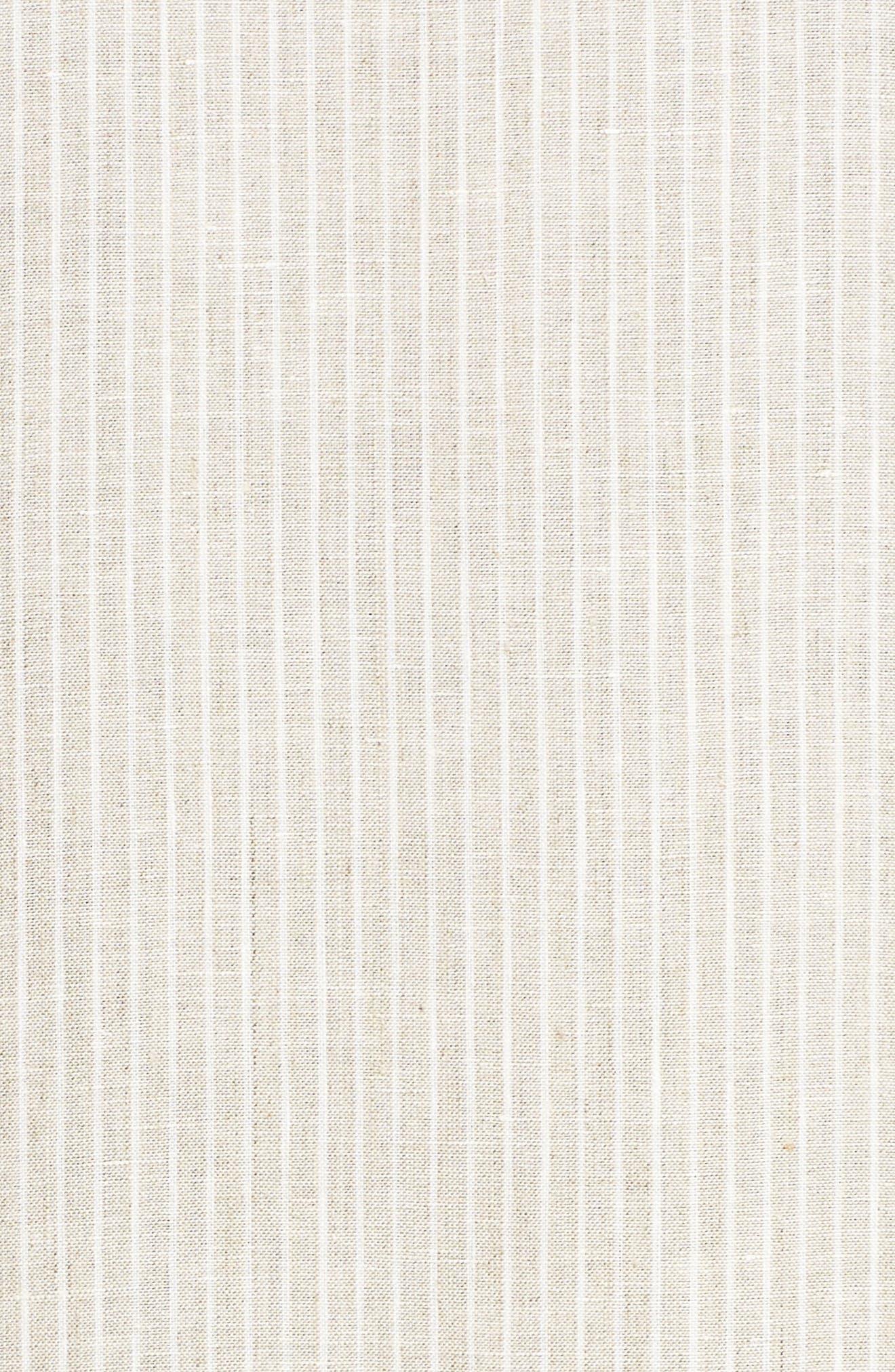 Emiline Stripe Linen Dress,                             Alternate thumbnail 5, color,                             Tahini Multi