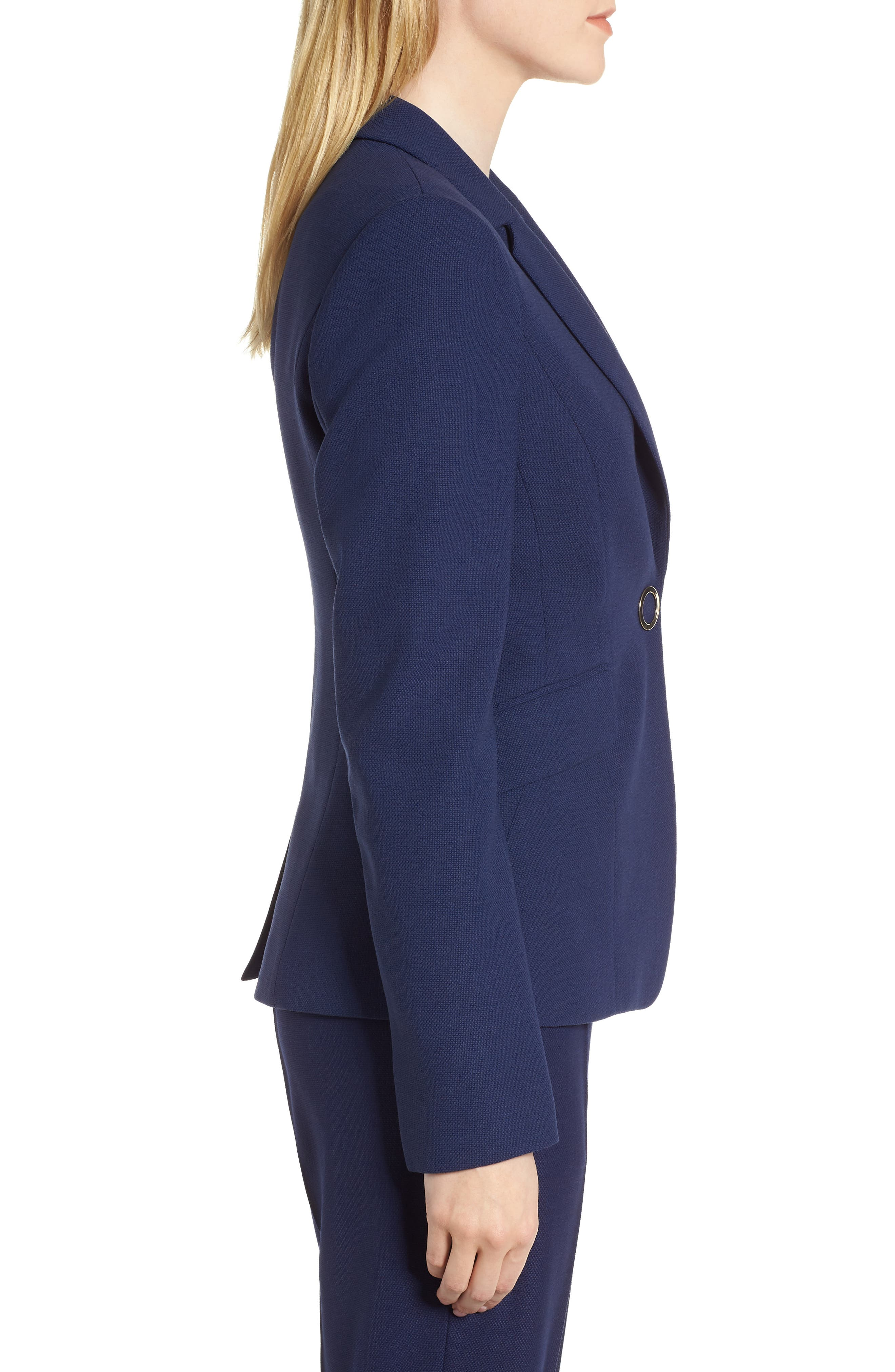 Jibalena Textured Stretch Wool Suit Jacket,                             Alternate thumbnail 3, color,                             Nautical