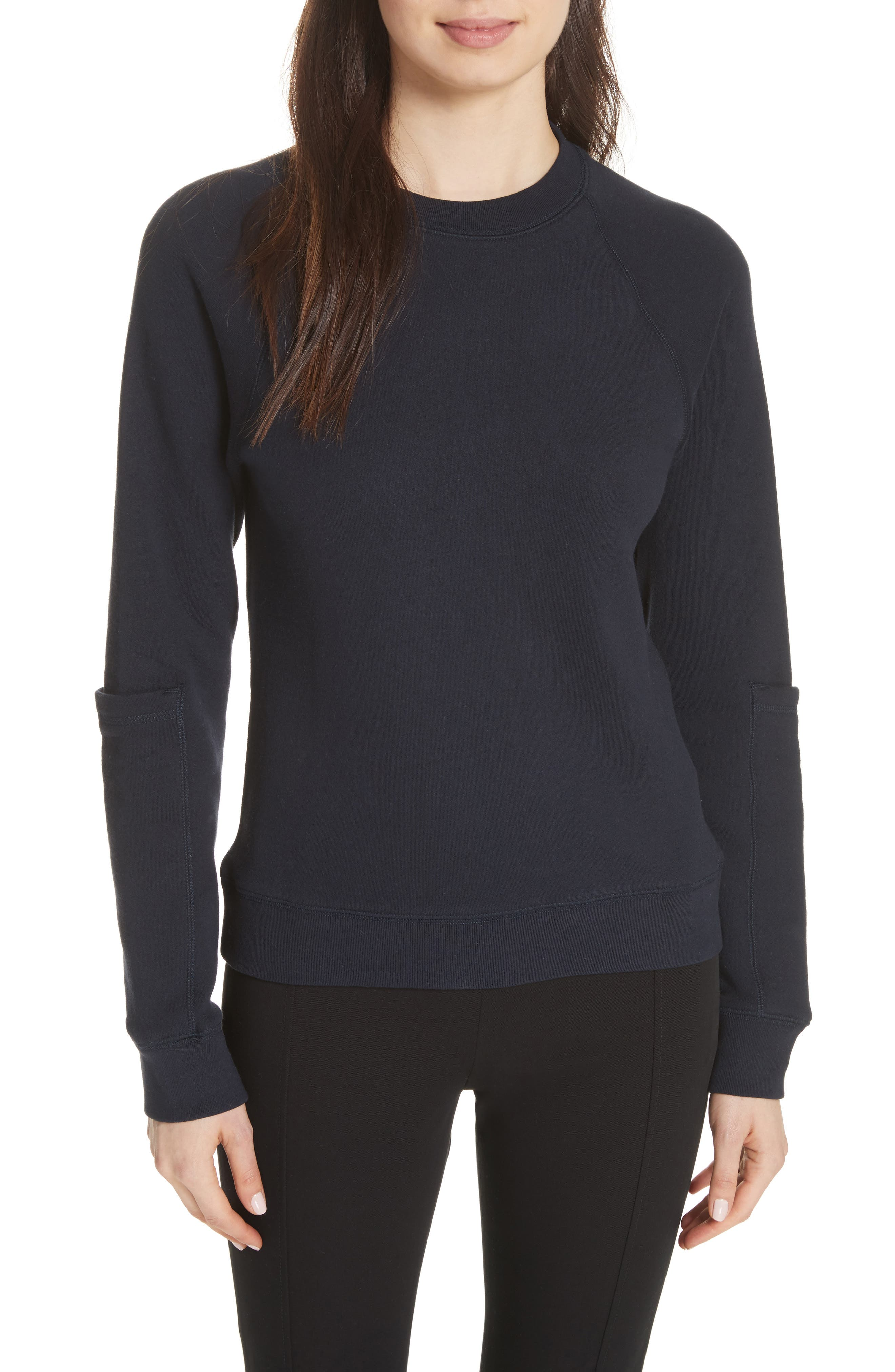 Pocket Sleeve Sweatshirt,                         Main,                         color, Navy