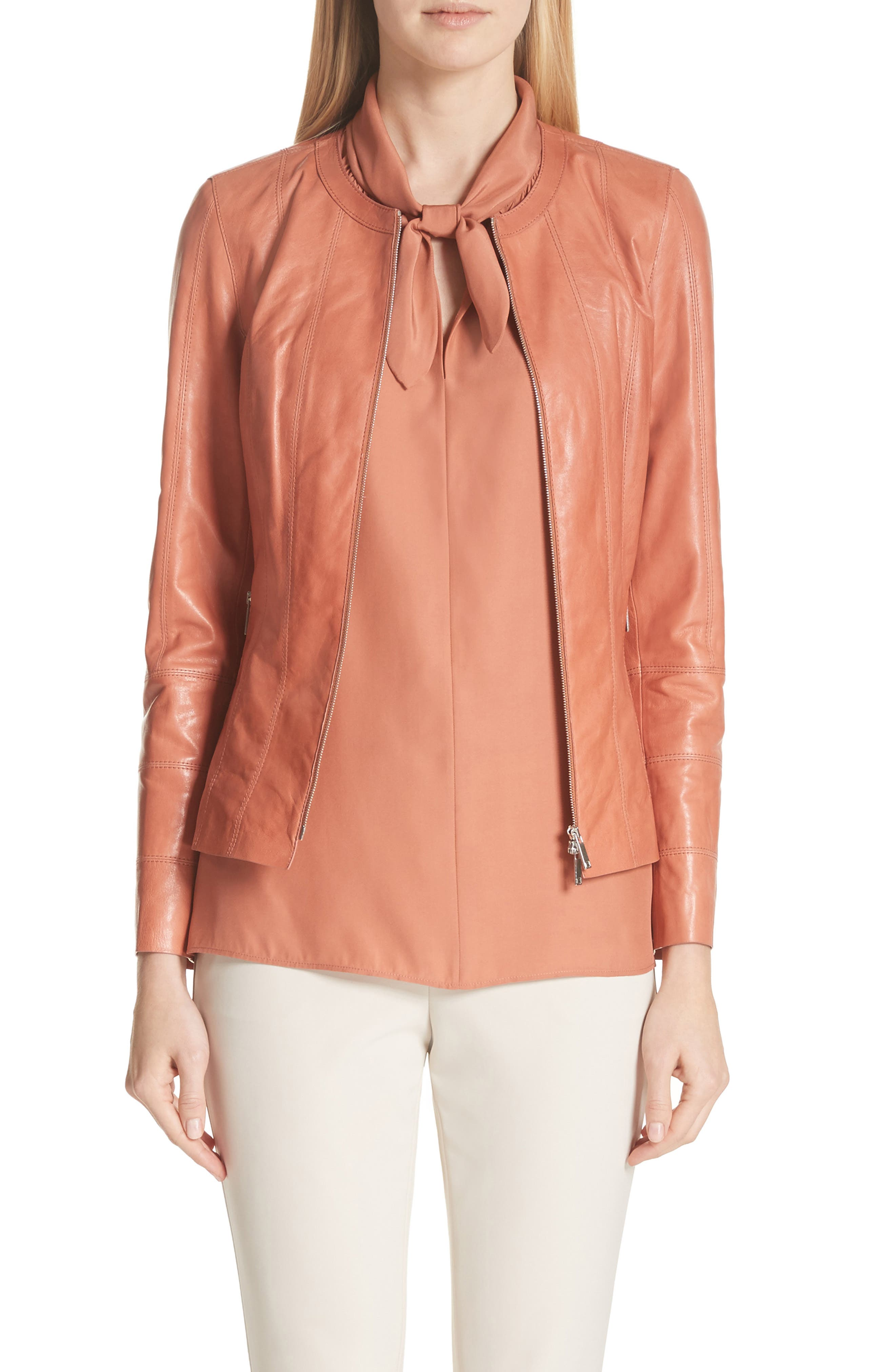 Courtney Glazed Lambskin Leather Jacket,                         Main,                         color, Adobe