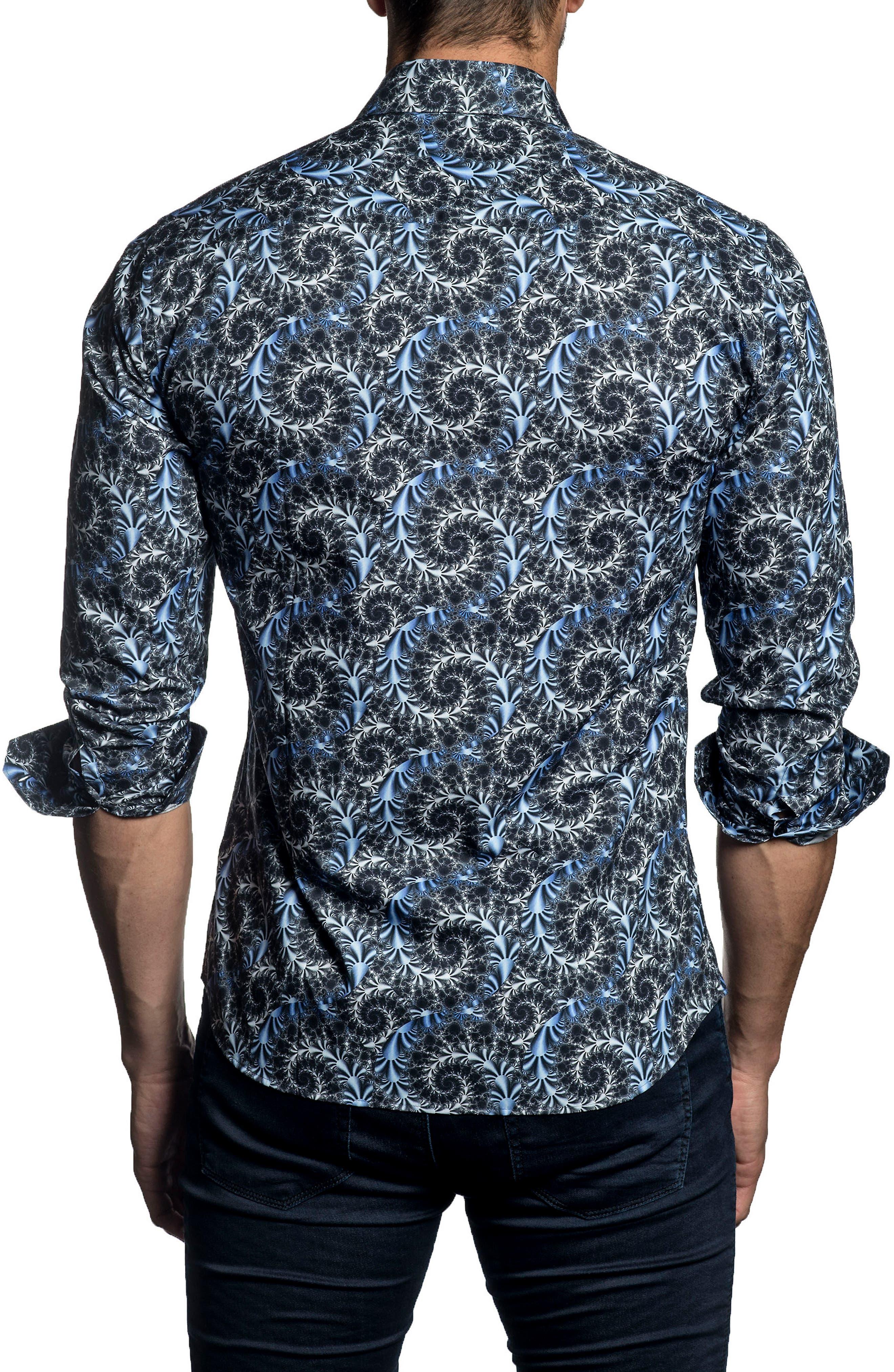 Trim Fit Print Sport Shirt,                             Alternate thumbnail 2, color,                             Dark Navy