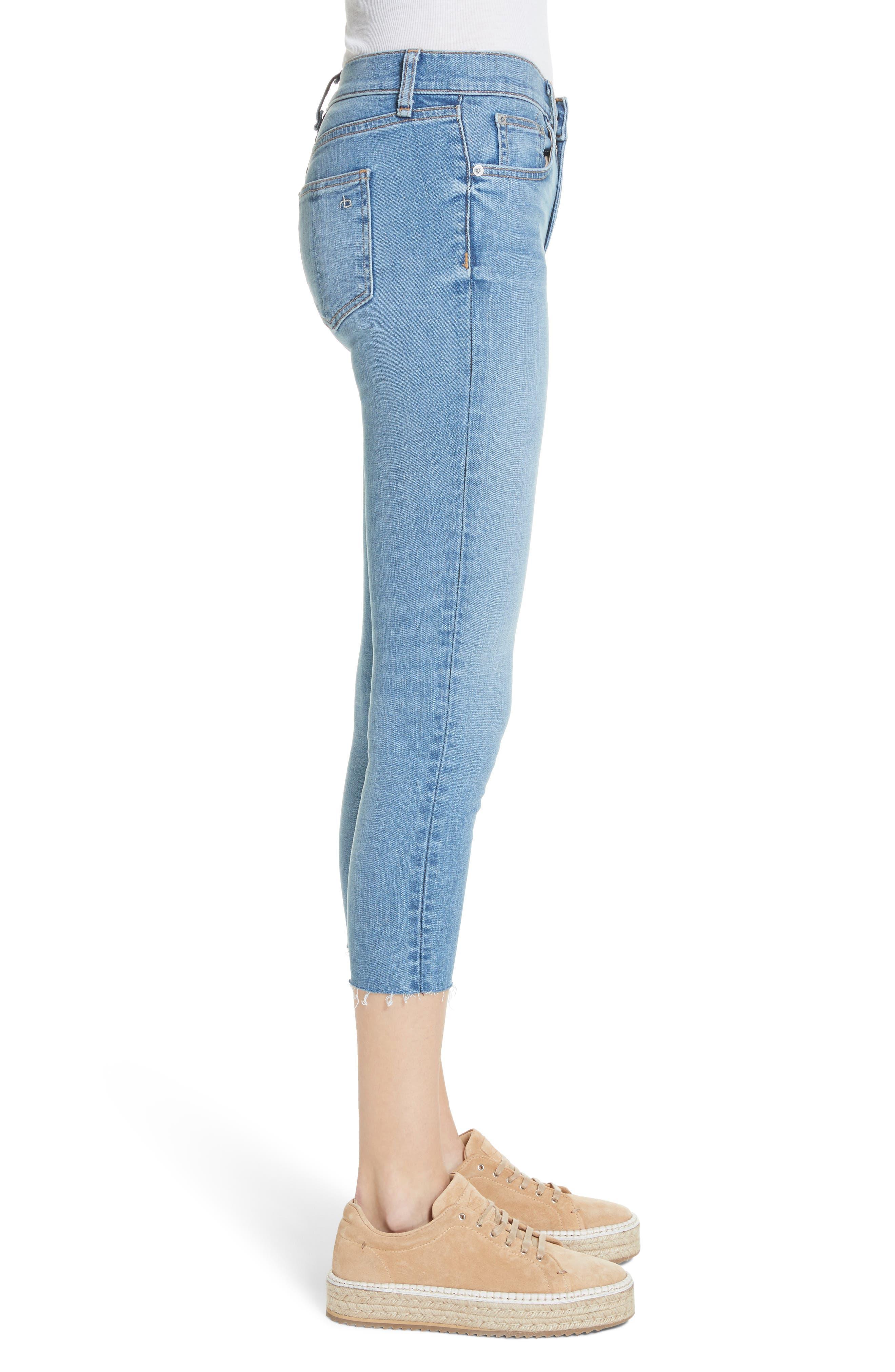 Raw Hem Capri Skinny Jeans,                             Alternate thumbnail 3, color,                             Levee